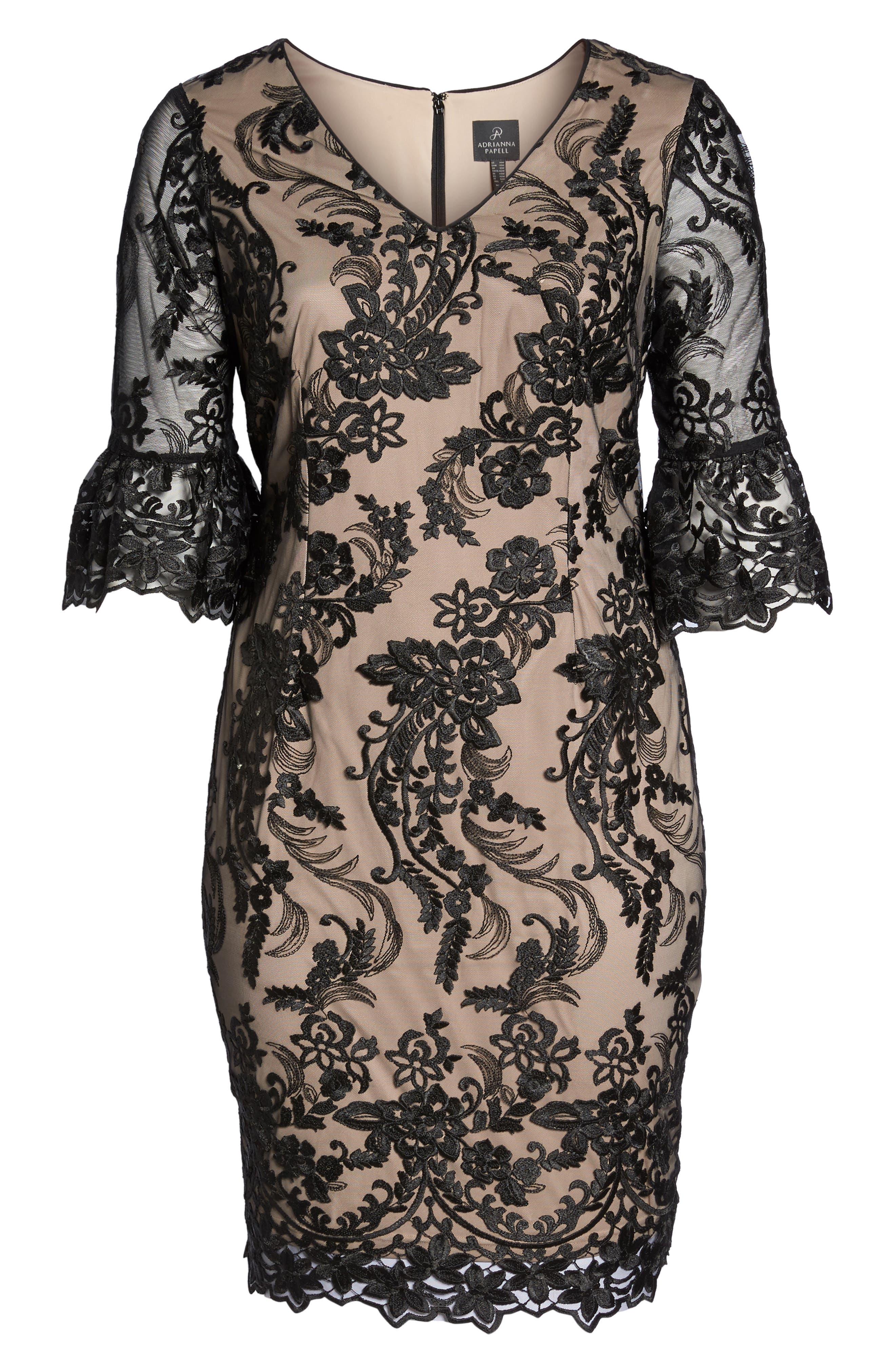 Alternate Image 6  - Adrianna Papell Flounce Sleeve Embroidered Lace Dress (Plus Size)