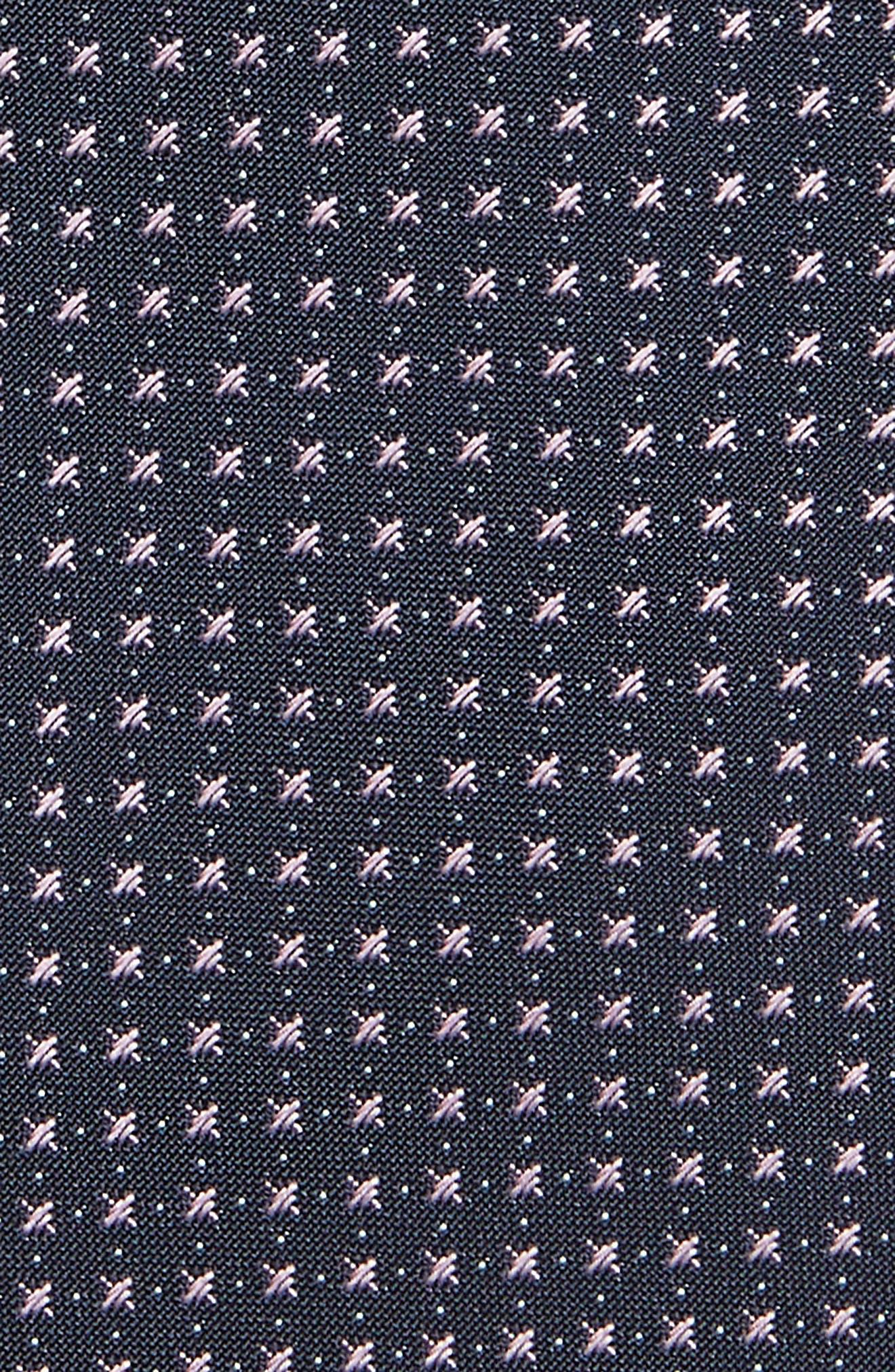 Geometric Silk Skinny Tie,                             Alternate thumbnail 2, color,                             Purple