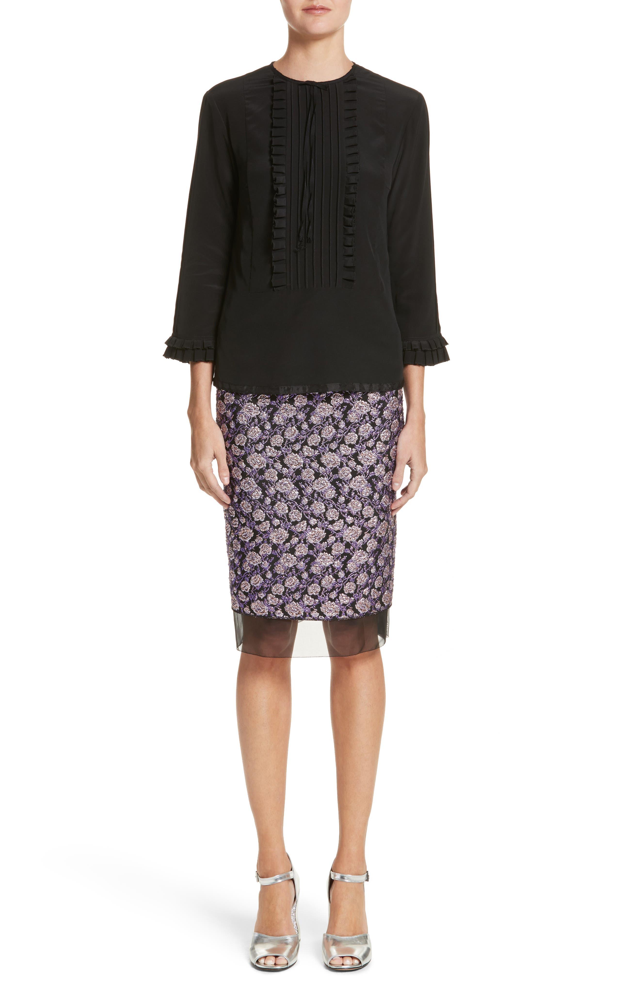Metallic Jacquard Pencil Skirt,                             Alternate thumbnail 9, color,                             Purple Multi
