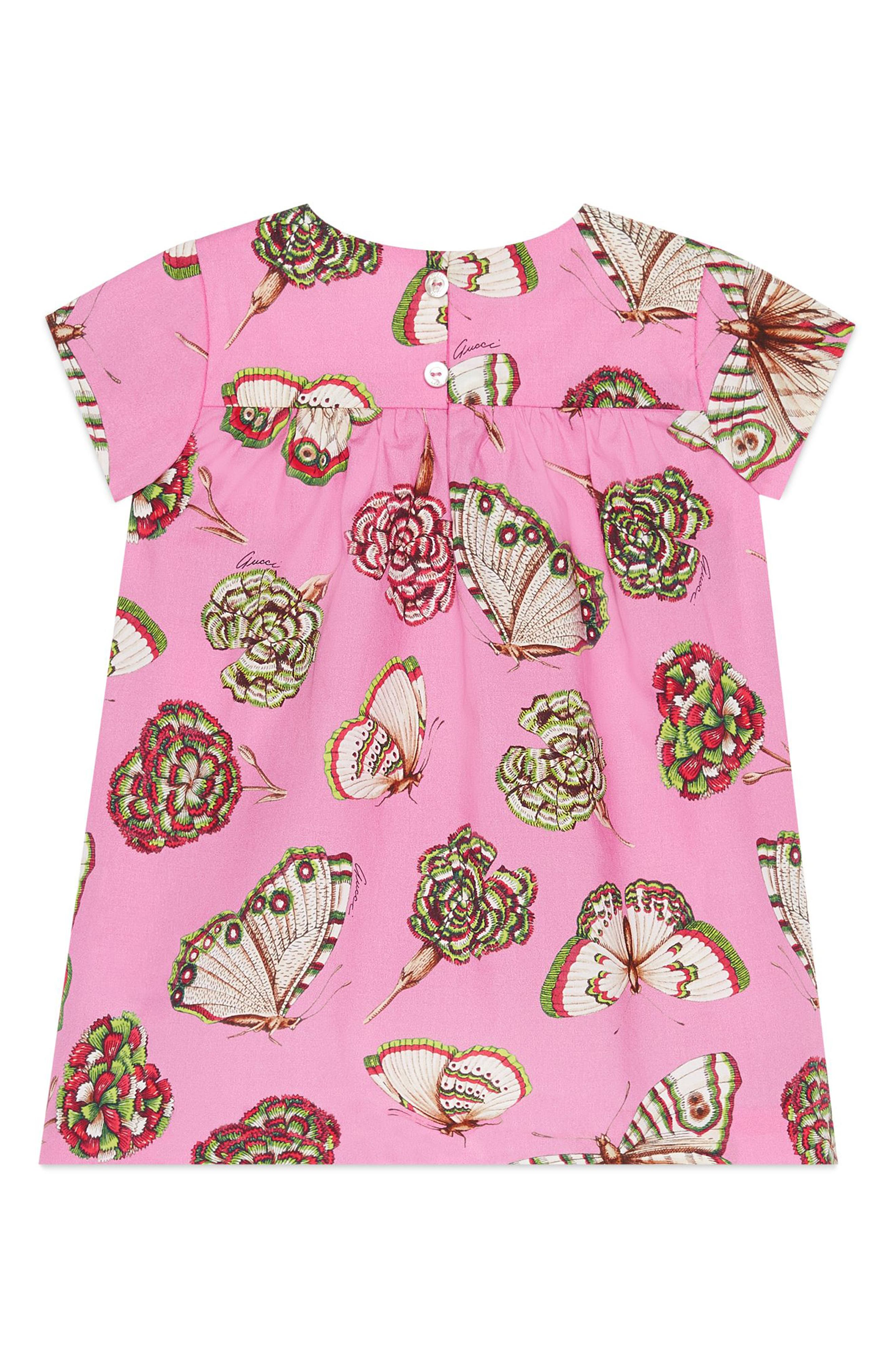Butterfly Cotton Poplin Dress,                             Alternate thumbnail 2, color,                             Powder Rose