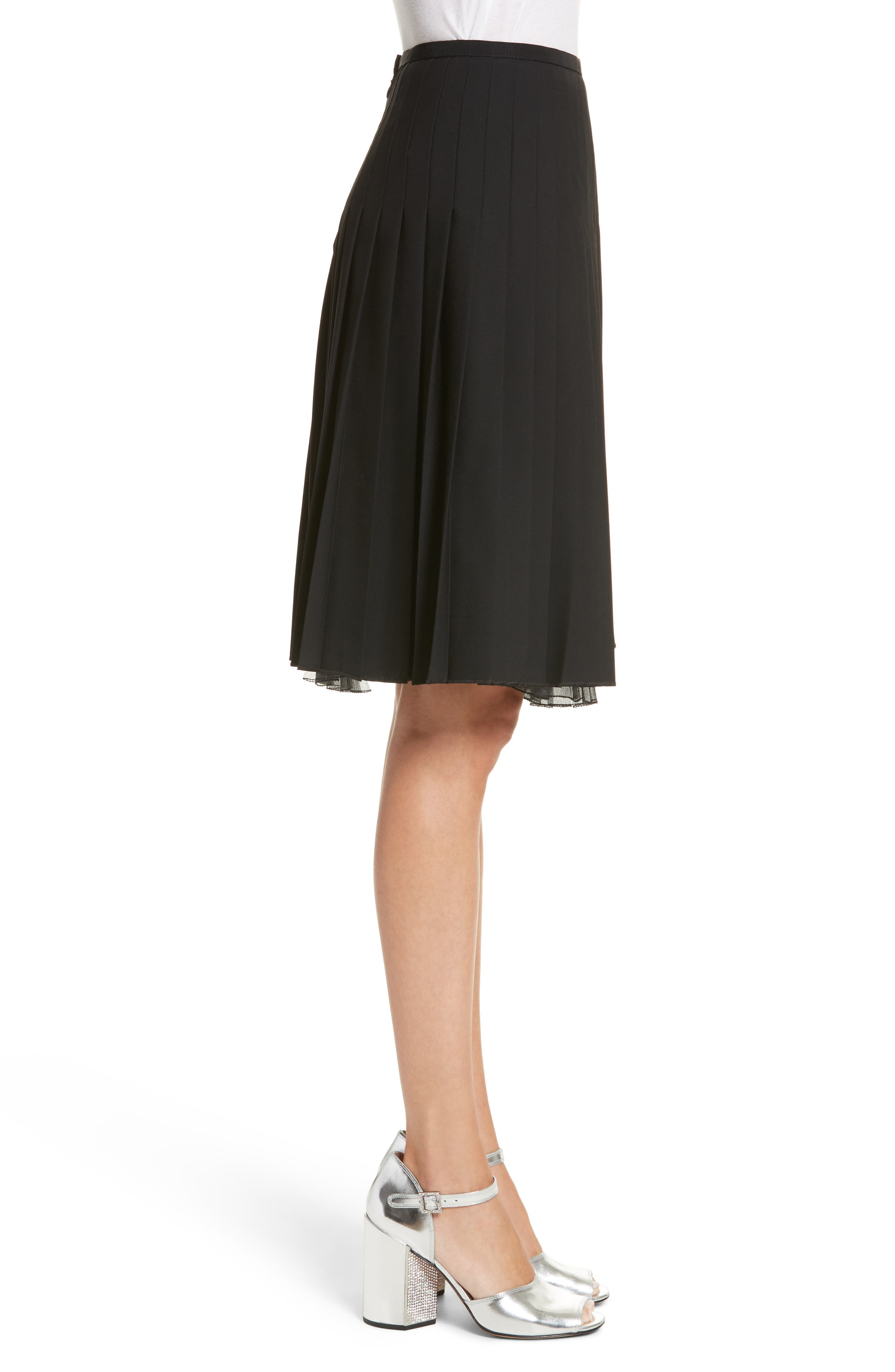 Pleated Stretch Wool Skirt,                             Alternate thumbnail 3, color,                             Black