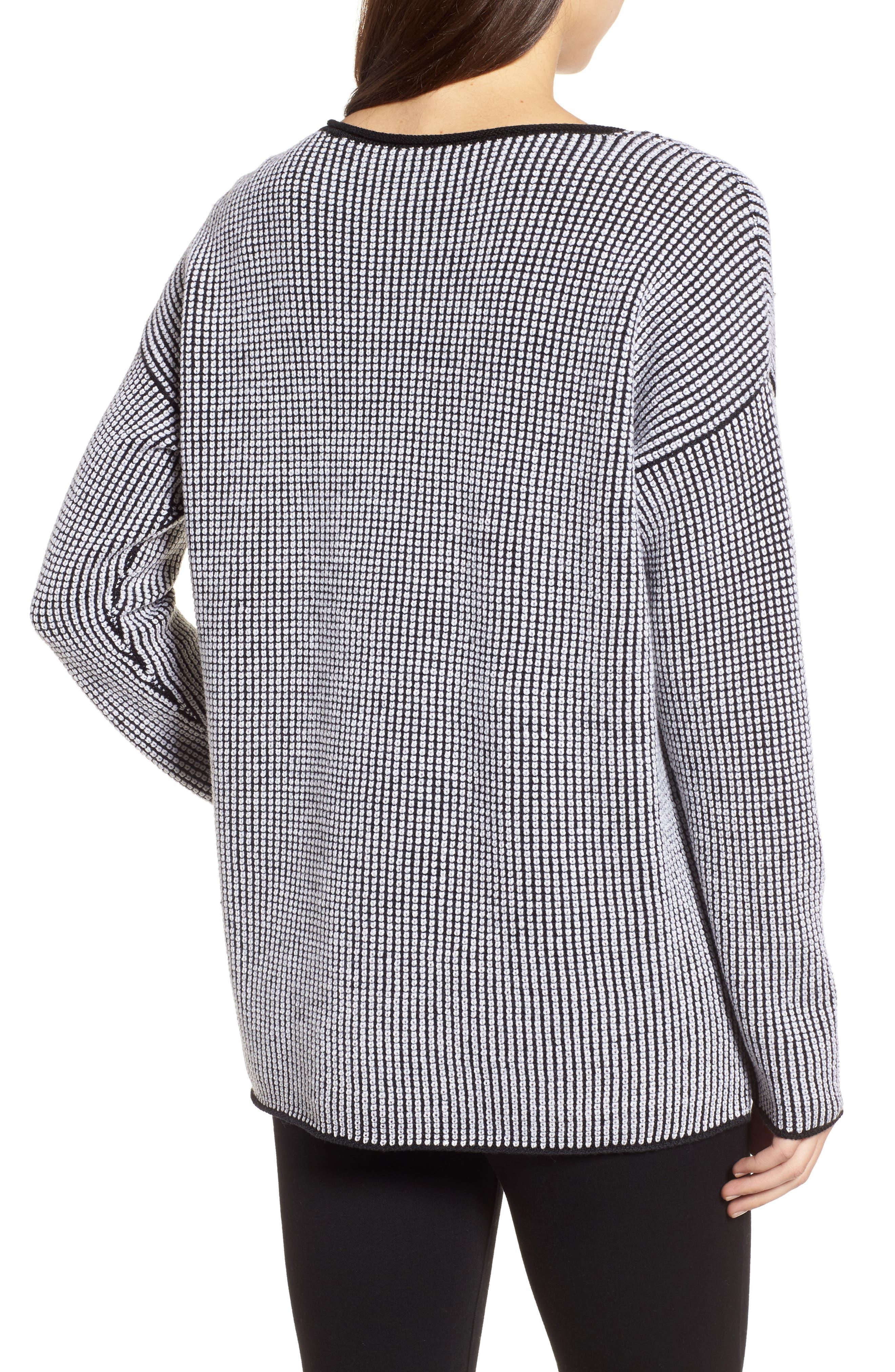 Textured Merino Wool Sweater,                             Alternate thumbnail 3, color,                             Black/ Soft White