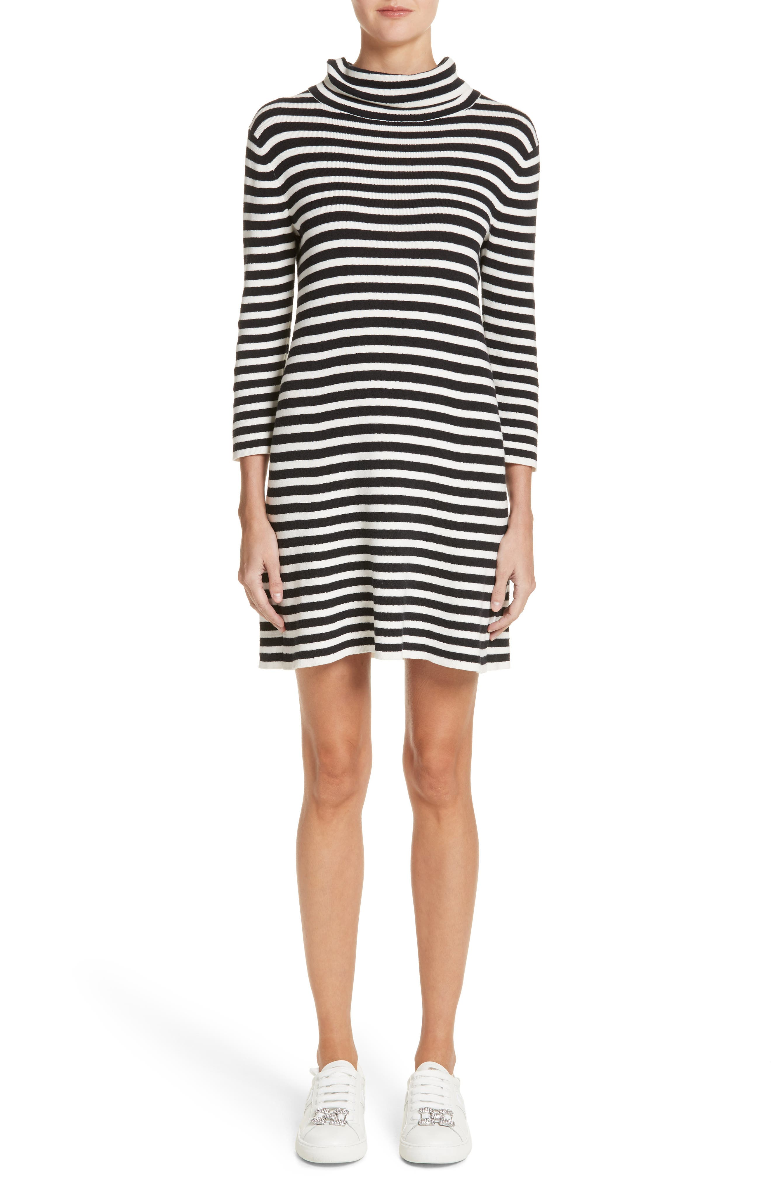 Stripe Cowl Neck Dress,                         Main,                         color, Black/ Ivory