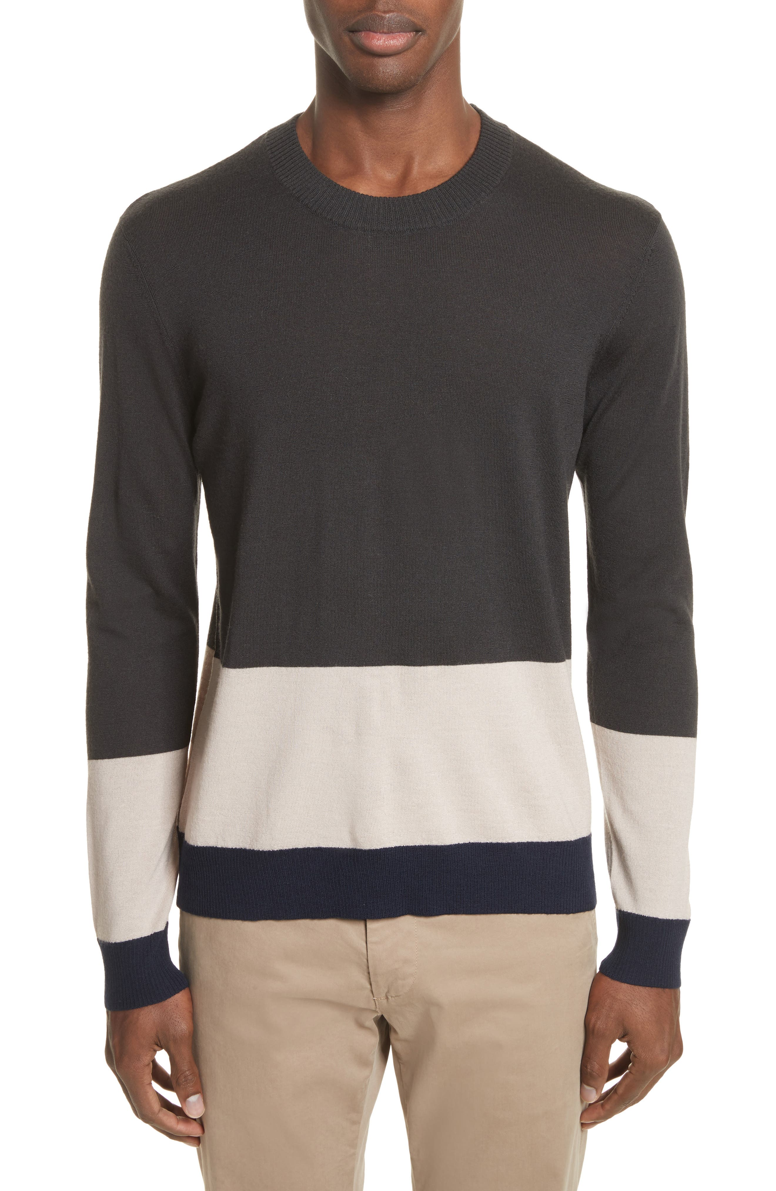 Colorblock Merino Wool Sweater,                             Main thumbnail 1, color,                             Beige/ Slate/ Midnight