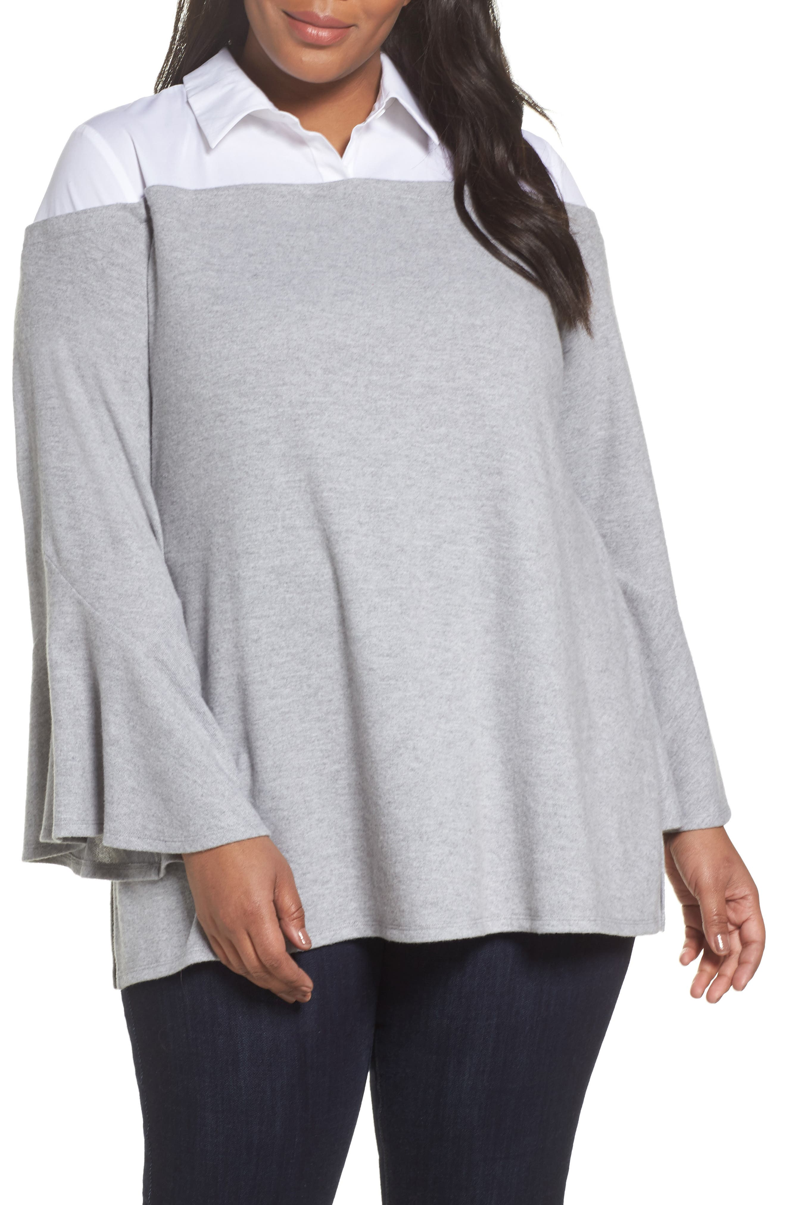 Bell Sleeve Mixed Media Top,                             Main thumbnail 1, color,                             Light Heather Grey