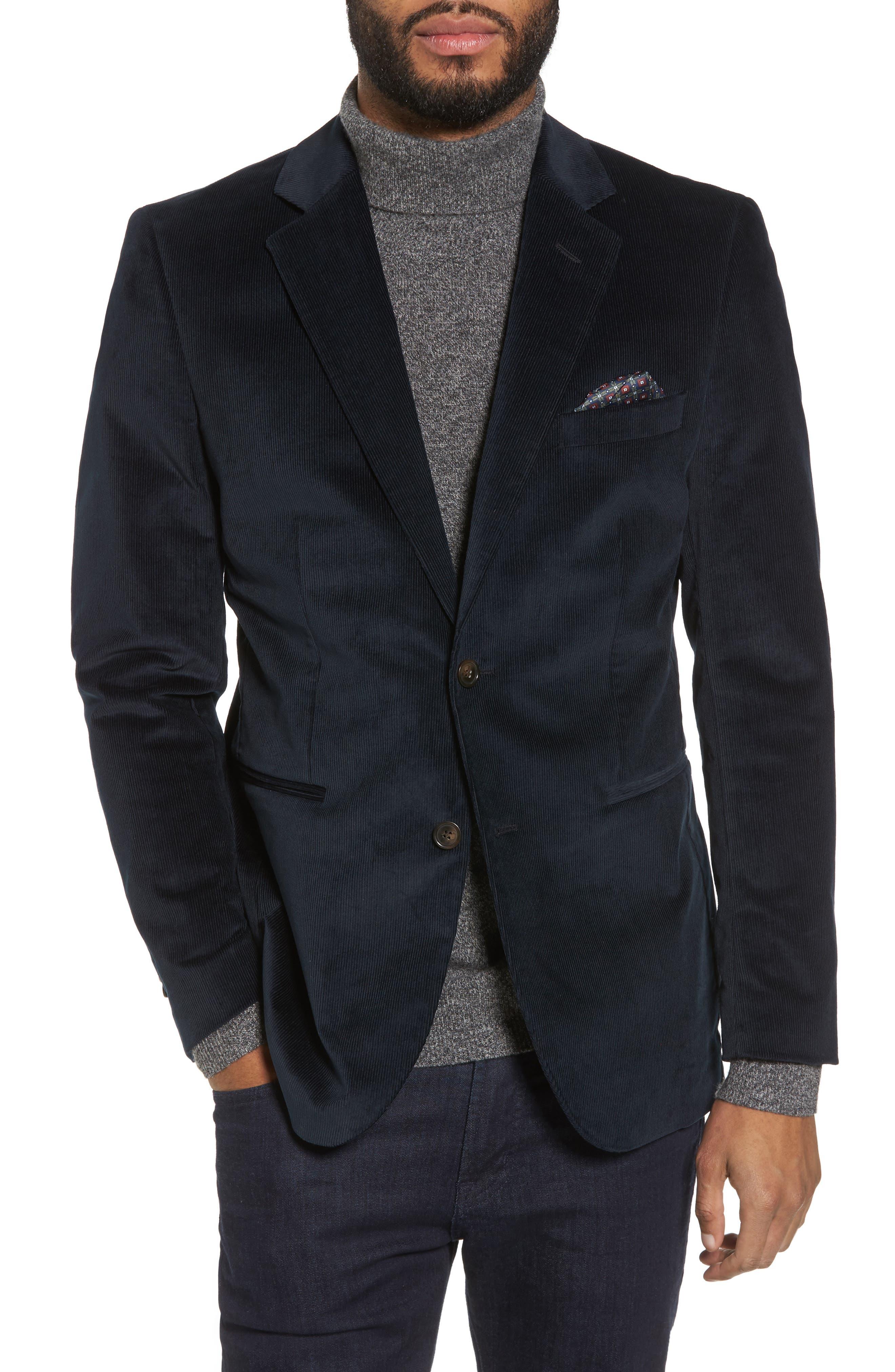 Kord Trim Fit Corduroy Blazer,                         Main,                         color, Black Iris