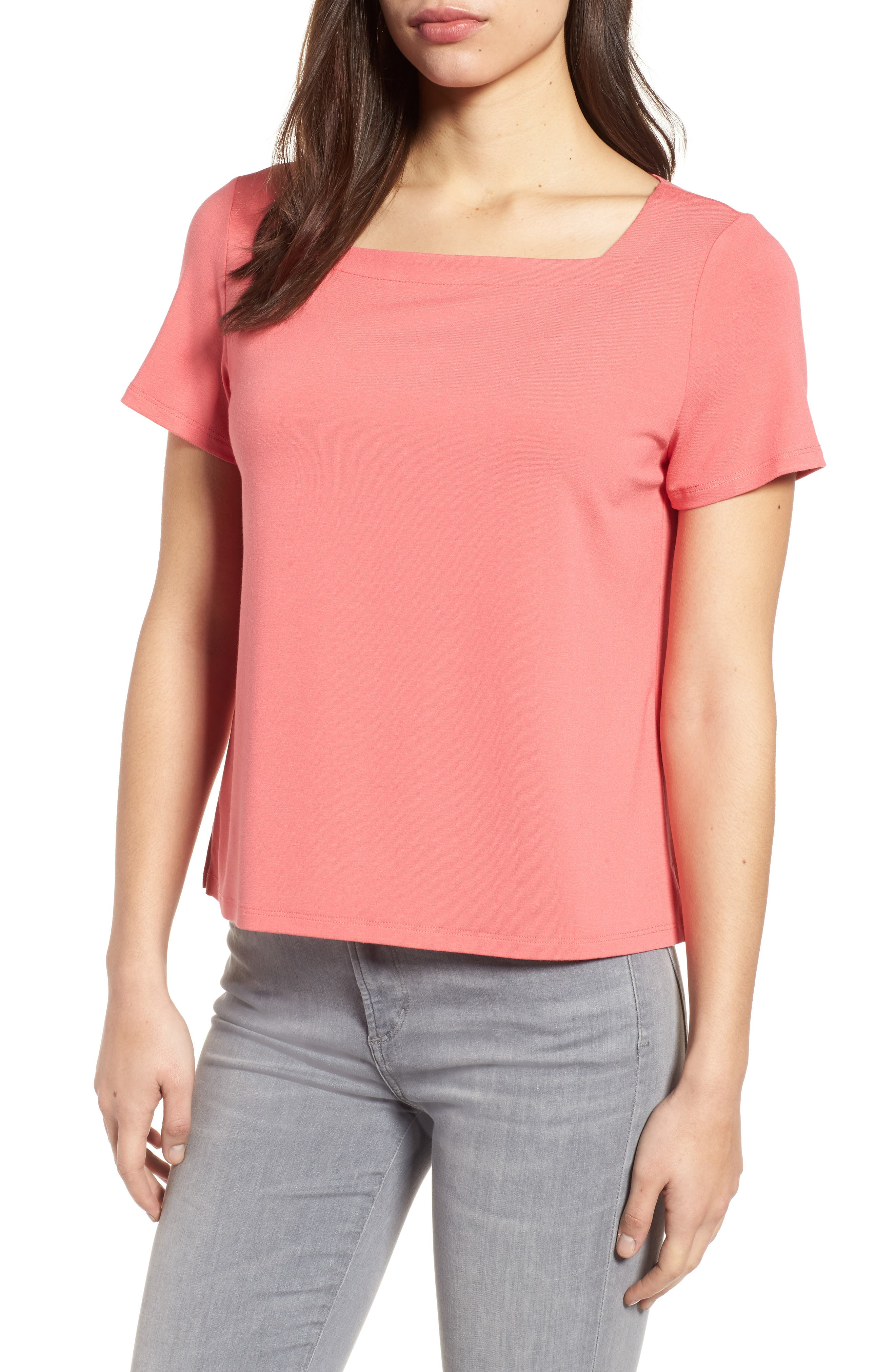 Alternate Image 1 Selected - Eileen Fisher Square Neck Jersey Top