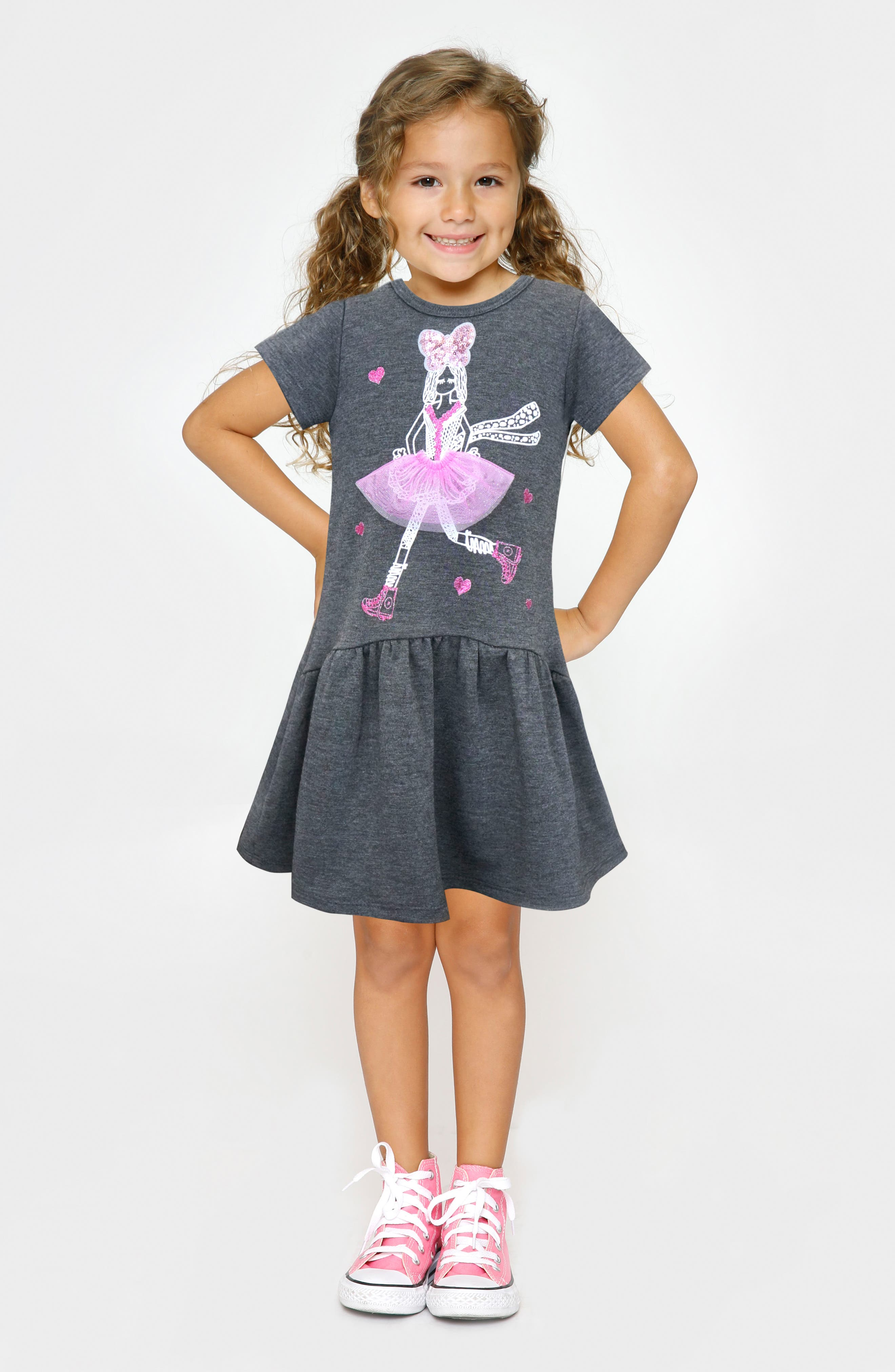 Dimensional Graphic Dress,                             Alternate thumbnail 2, color,                             Dark Grey