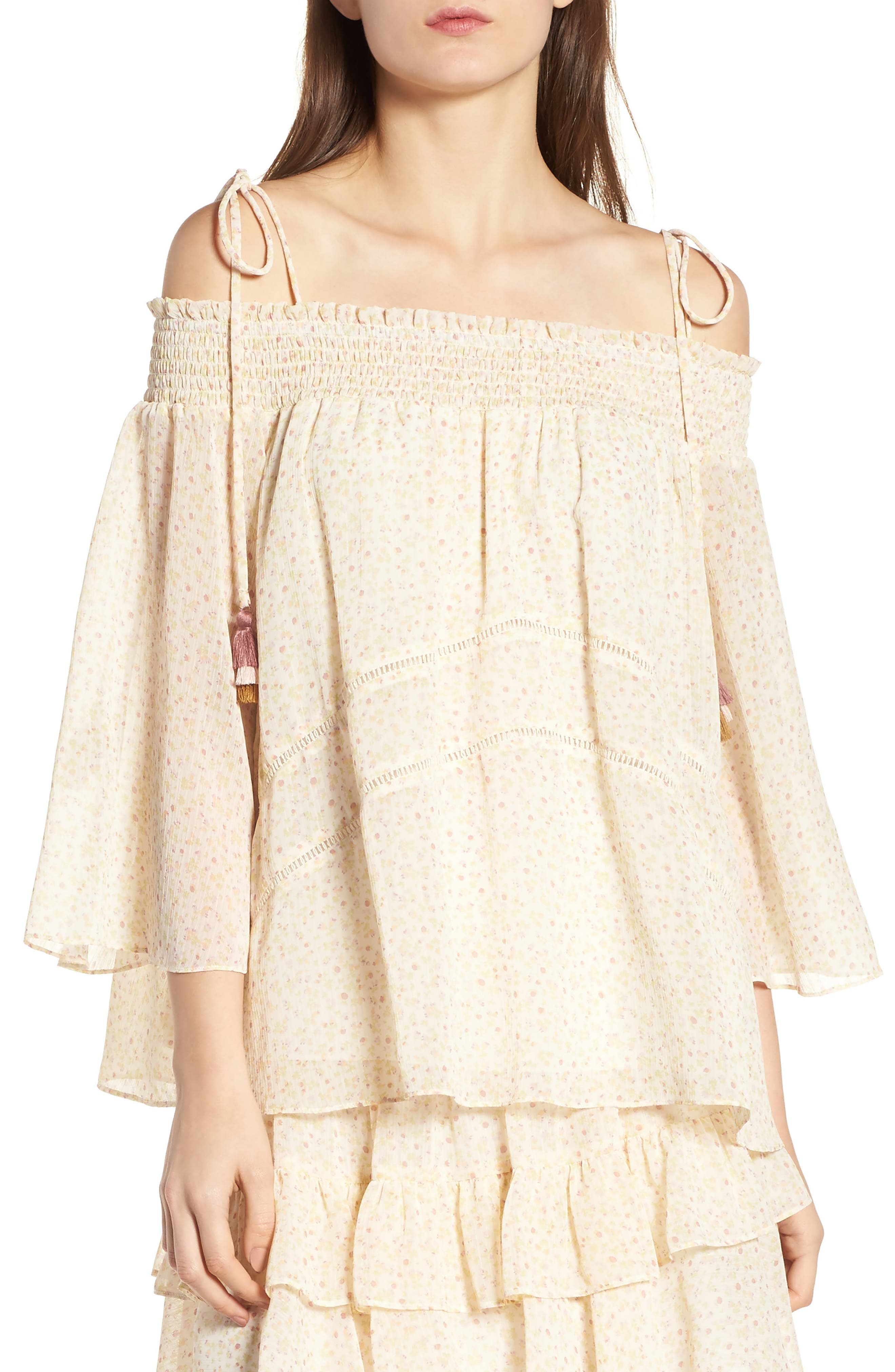 Casey Off the Shoulder Top,                         Main,                         color, Off White