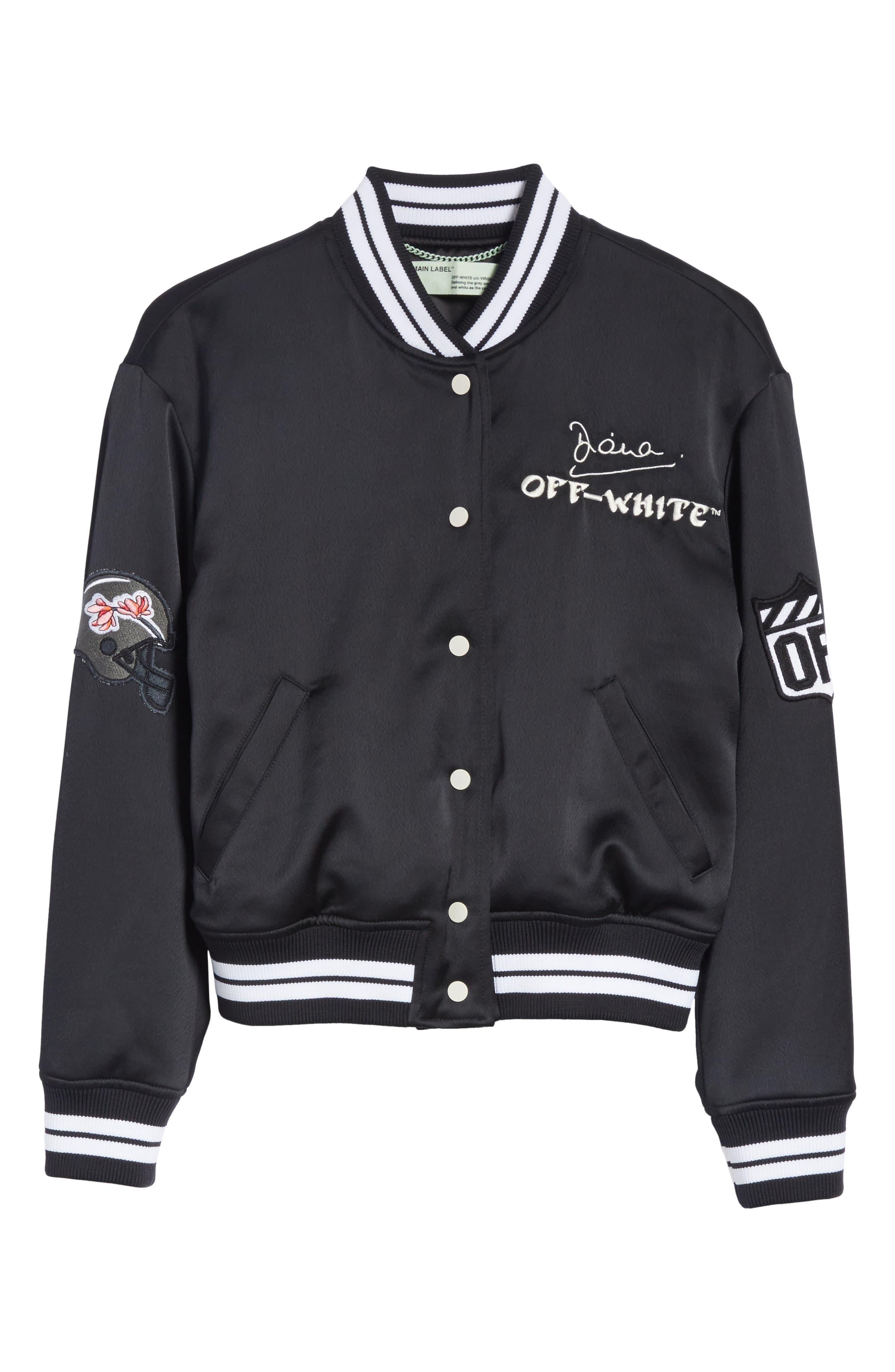 Varsity Bomber Jacket,                             Alternate thumbnail 6, color,                             Black/ White