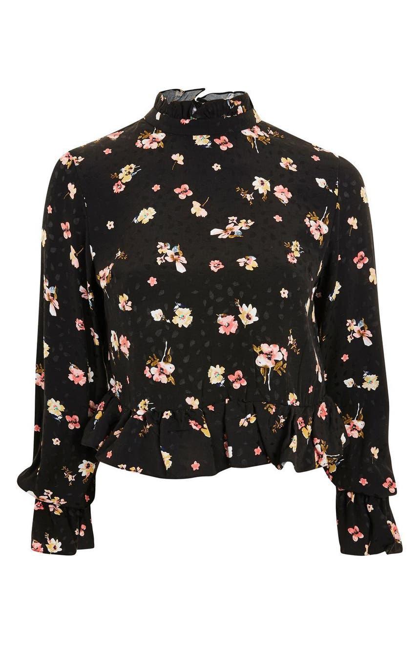 Main Image - Topshop Floral Print Peplum Blouse