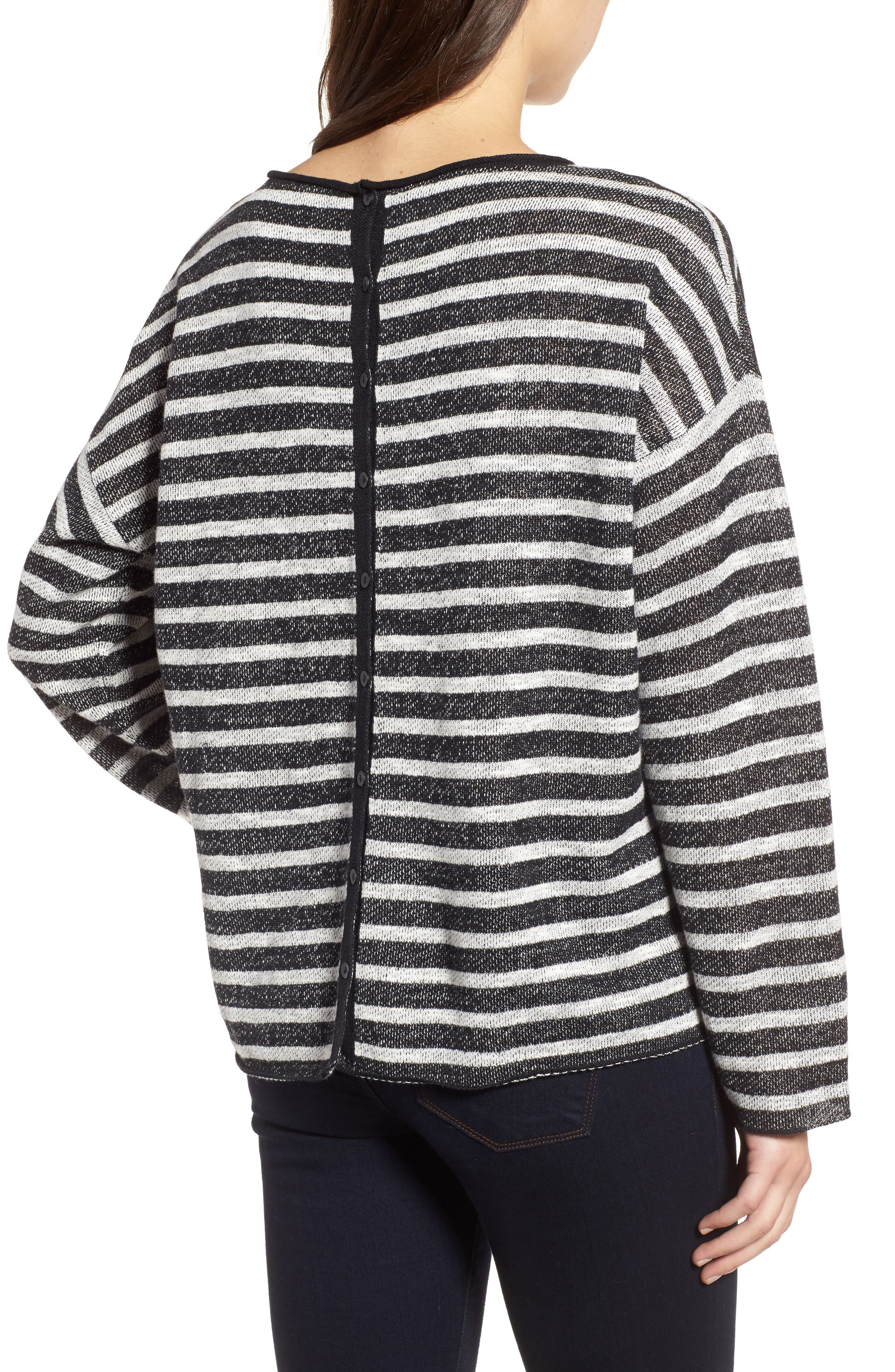 Stripe Organic Linen & Cotton Sweater,                             Alternate thumbnail 3, color,                             Black/ Soft White