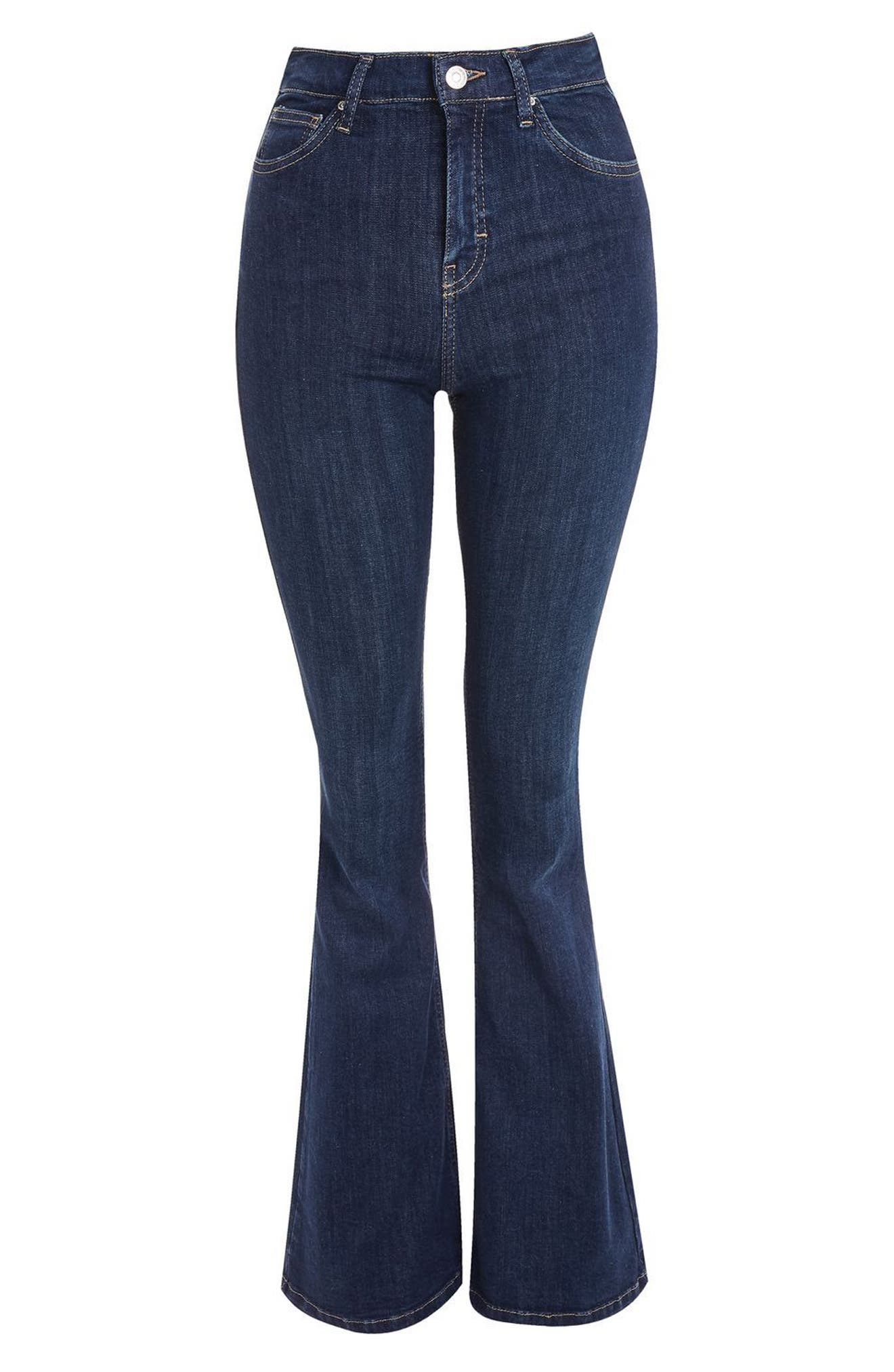 Jamie Flare Jeans,                             Alternate thumbnail 4, color,                             Indigo