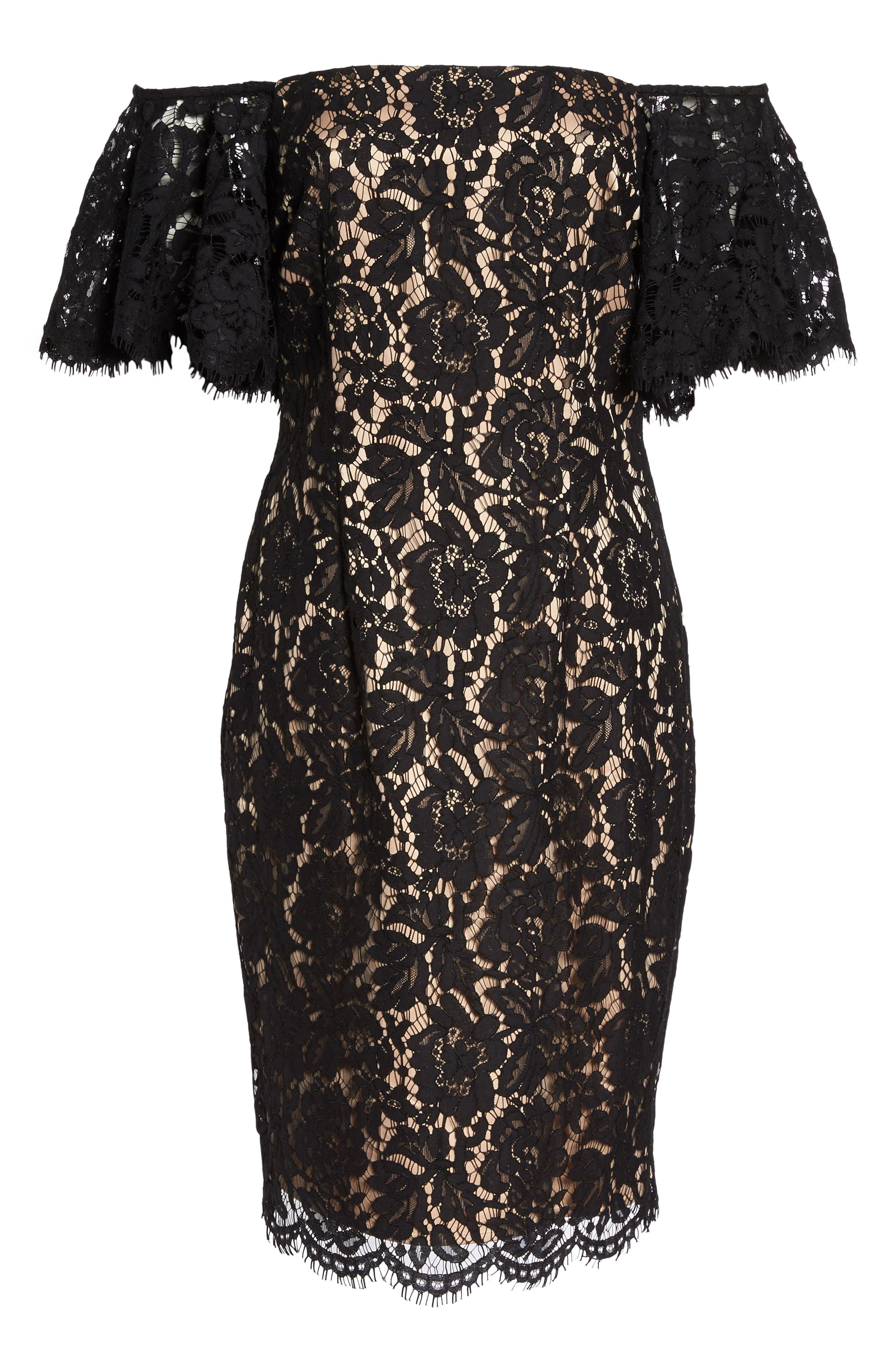 Off the Shoulder Lace Dress,                             Alternate thumbnail 6, color,                             Black/ Nude Combo