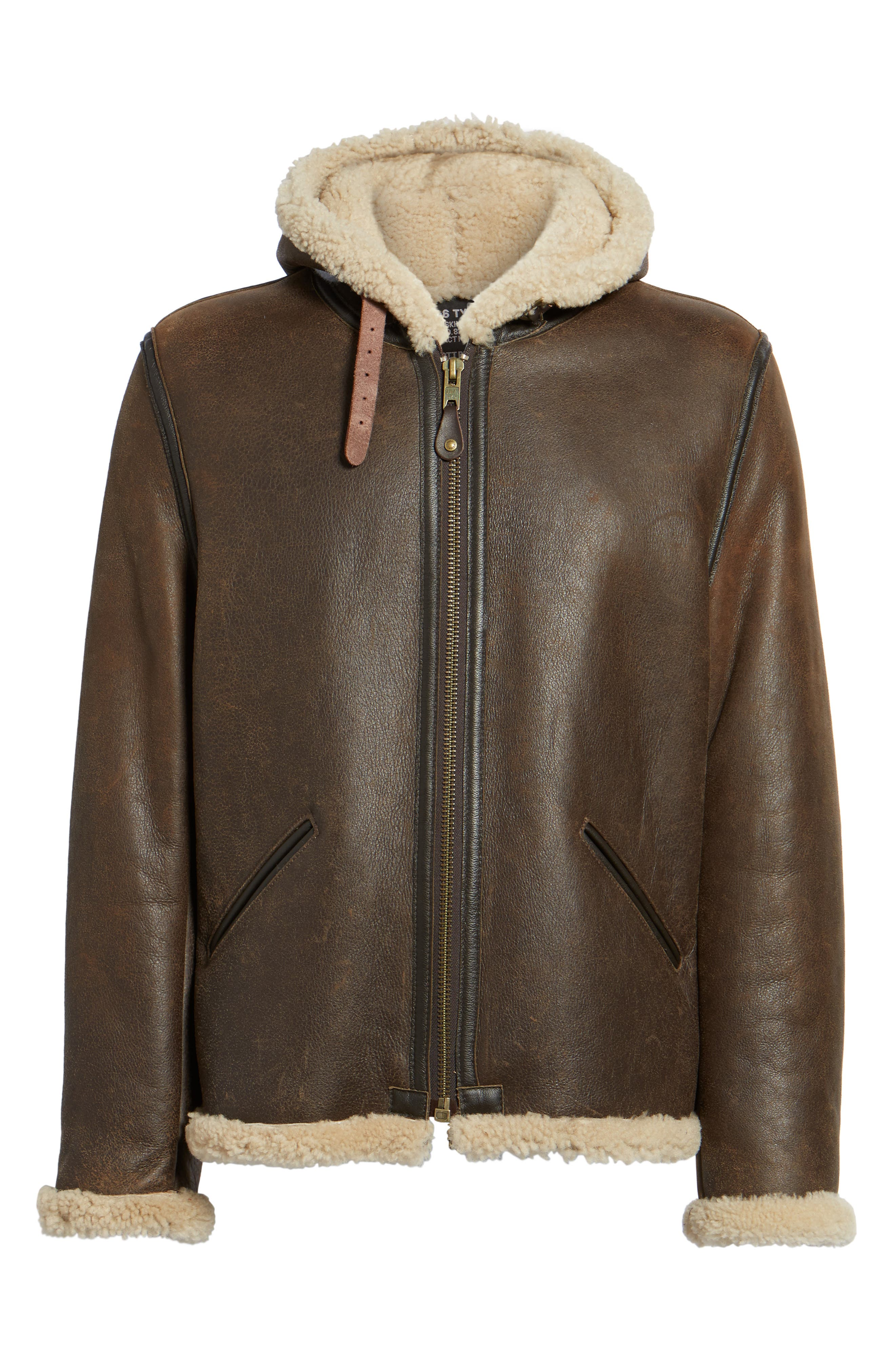 Genuine Shearling Vintage B-6 Hooded Bomber Jacket,                             Alternate thumbnail 6, color,                             Brown