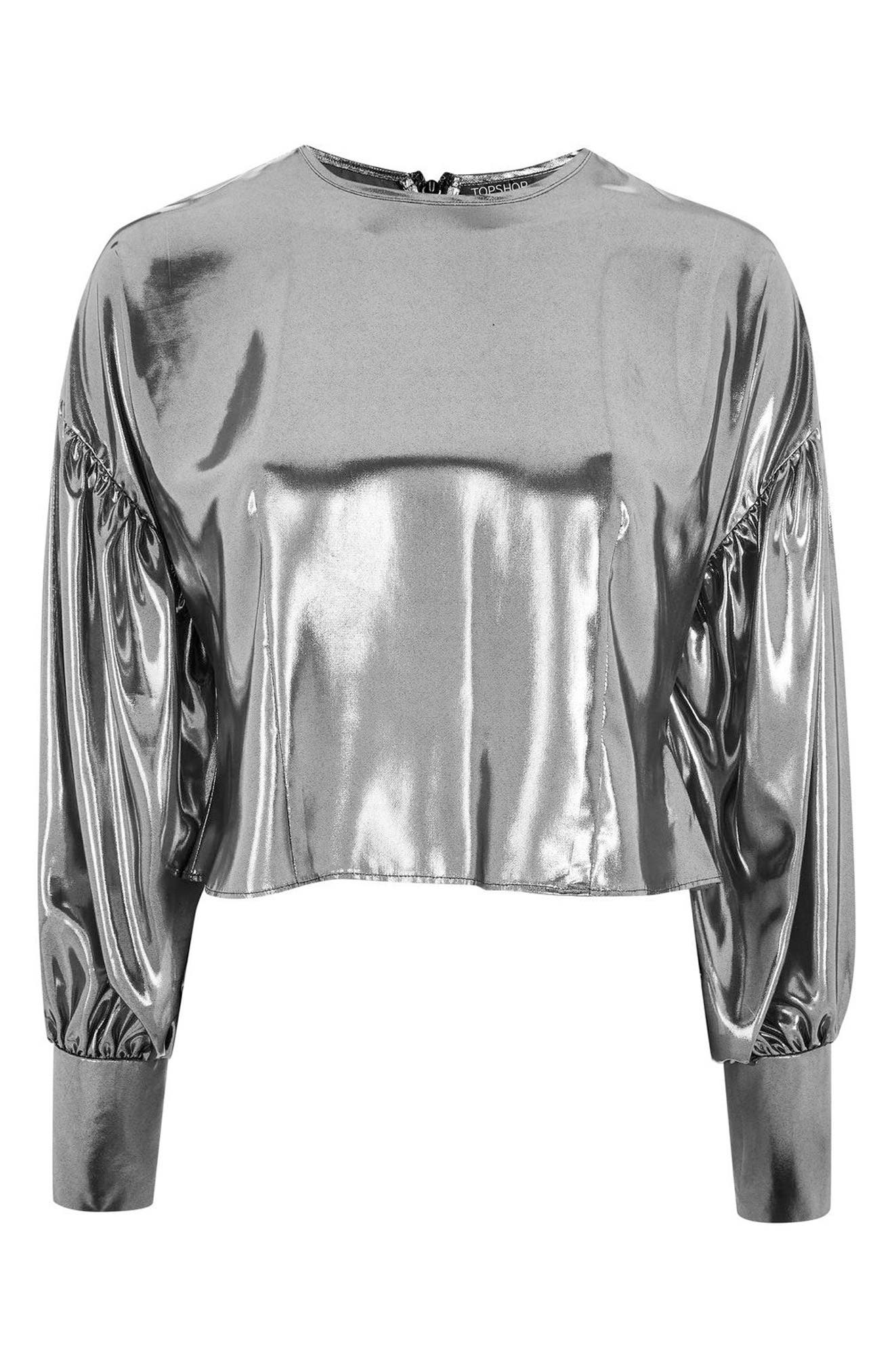 Balloon Sleeve Lamé Blouse,                             Alternate thumbnail 5, color,                             Silver