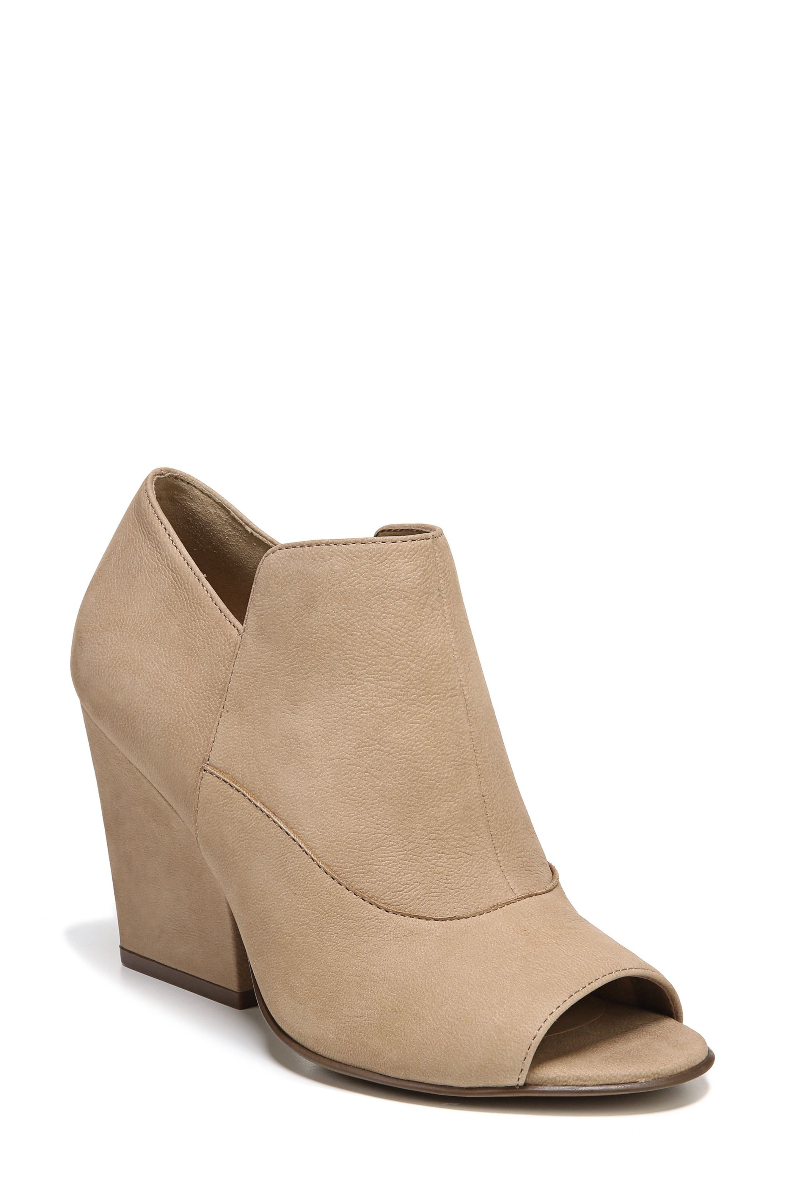 Skylar Open Toe Bootie,                             Main thumbnail 1, color,                             Barley Nubuck