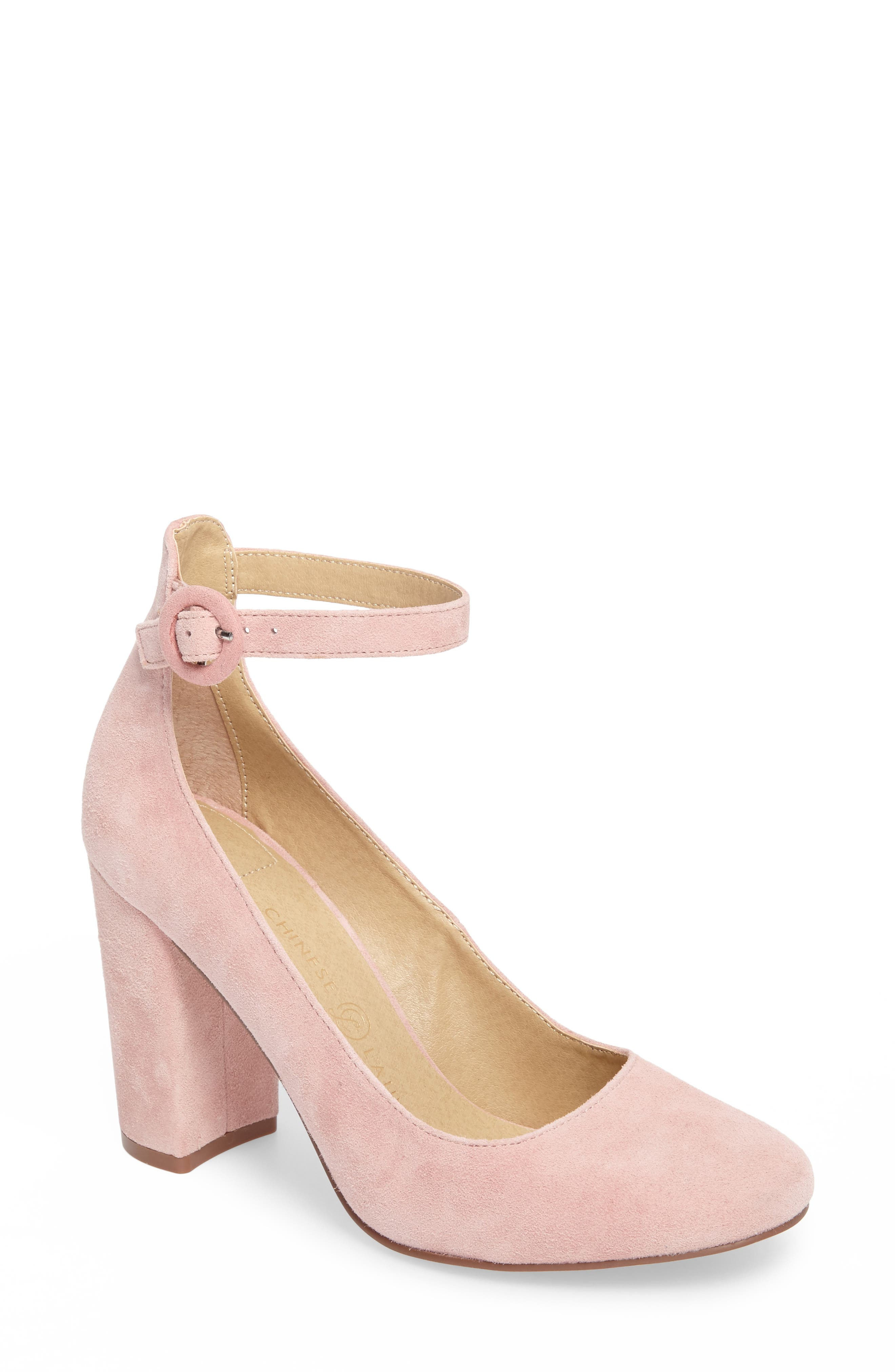 Veronika Pump,                             Main thumbnail 1, color,                             Rose Suede