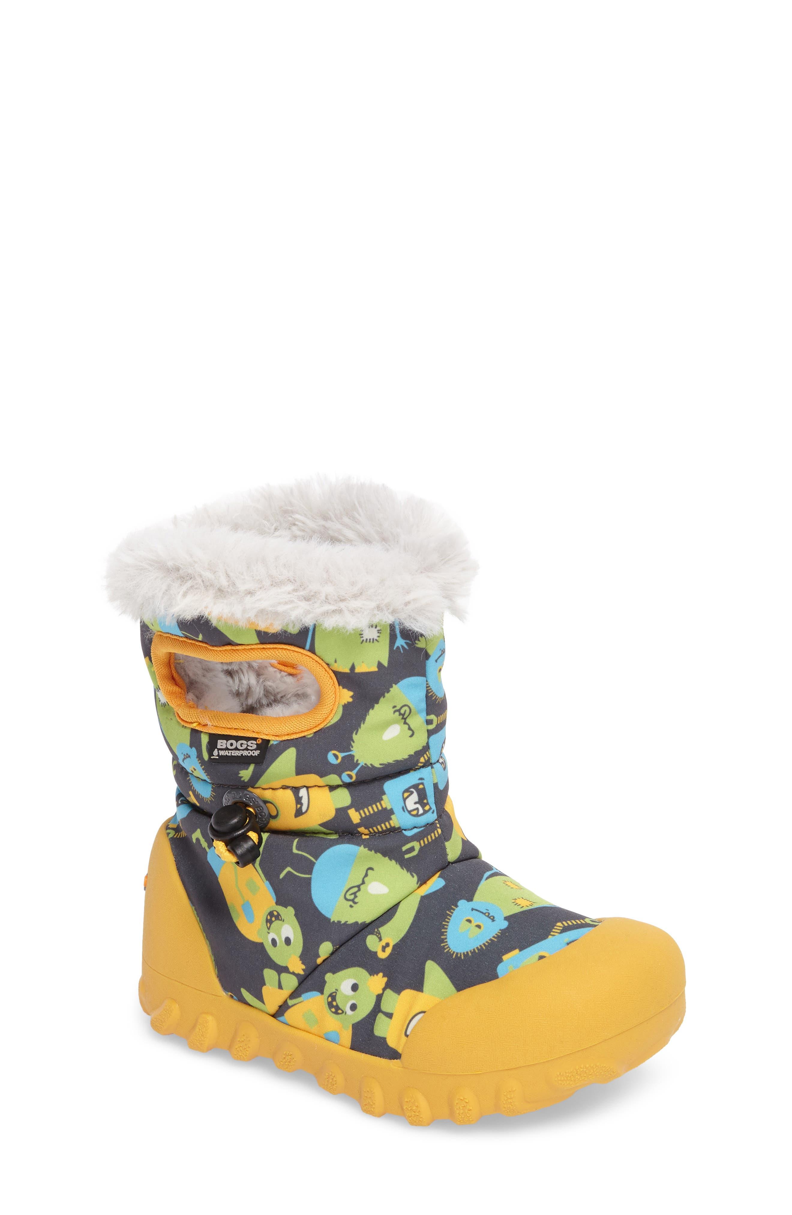 B-MOC Monsters Waterproof Insulated Faux Fur Winter Boot,                             Main thumbnail 1, color,                             Dark Gray Multi