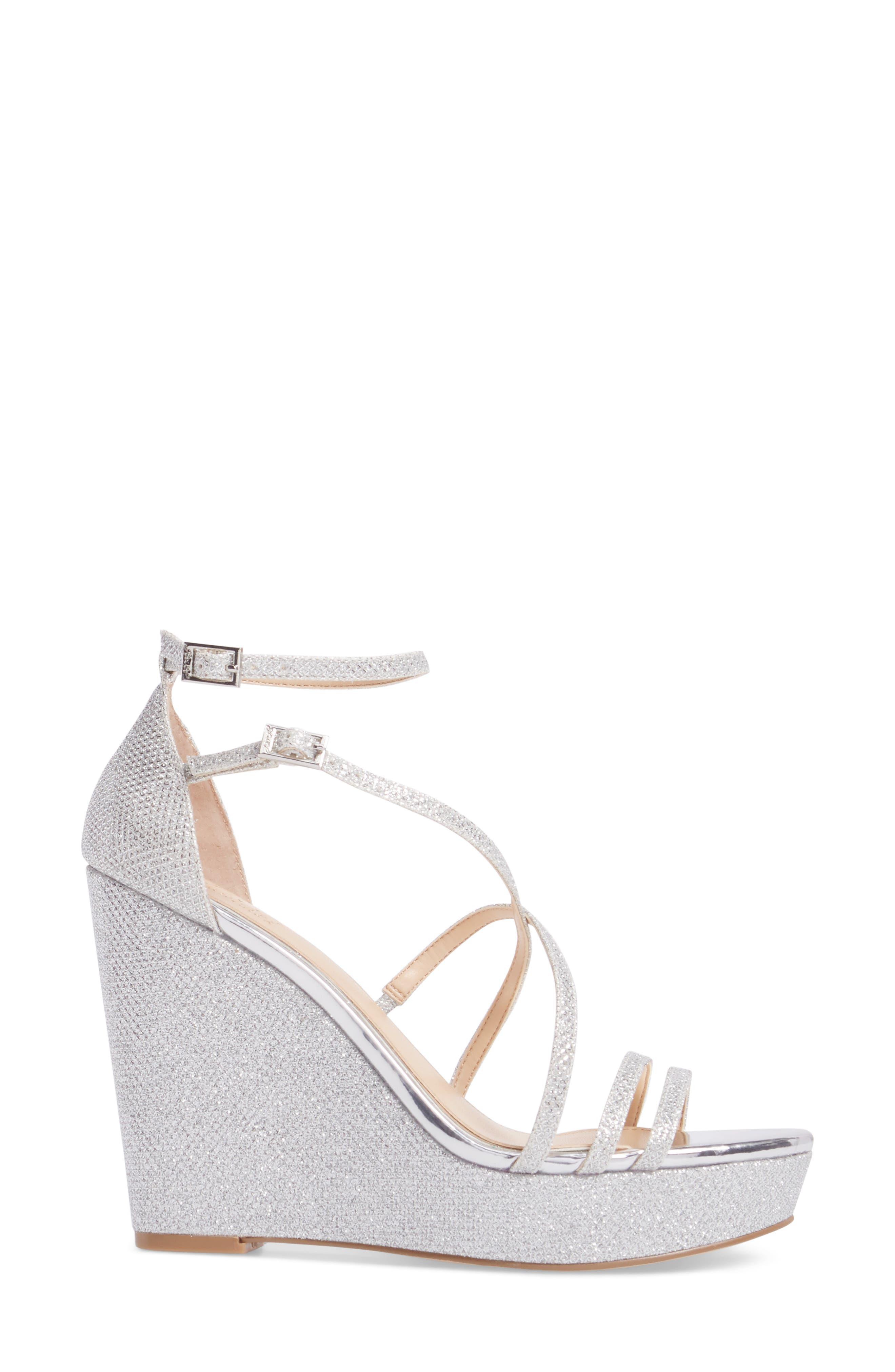 Tatsu Wedge Sandal,                             Alternate thumbnail 3, color,                             Silver Glitter