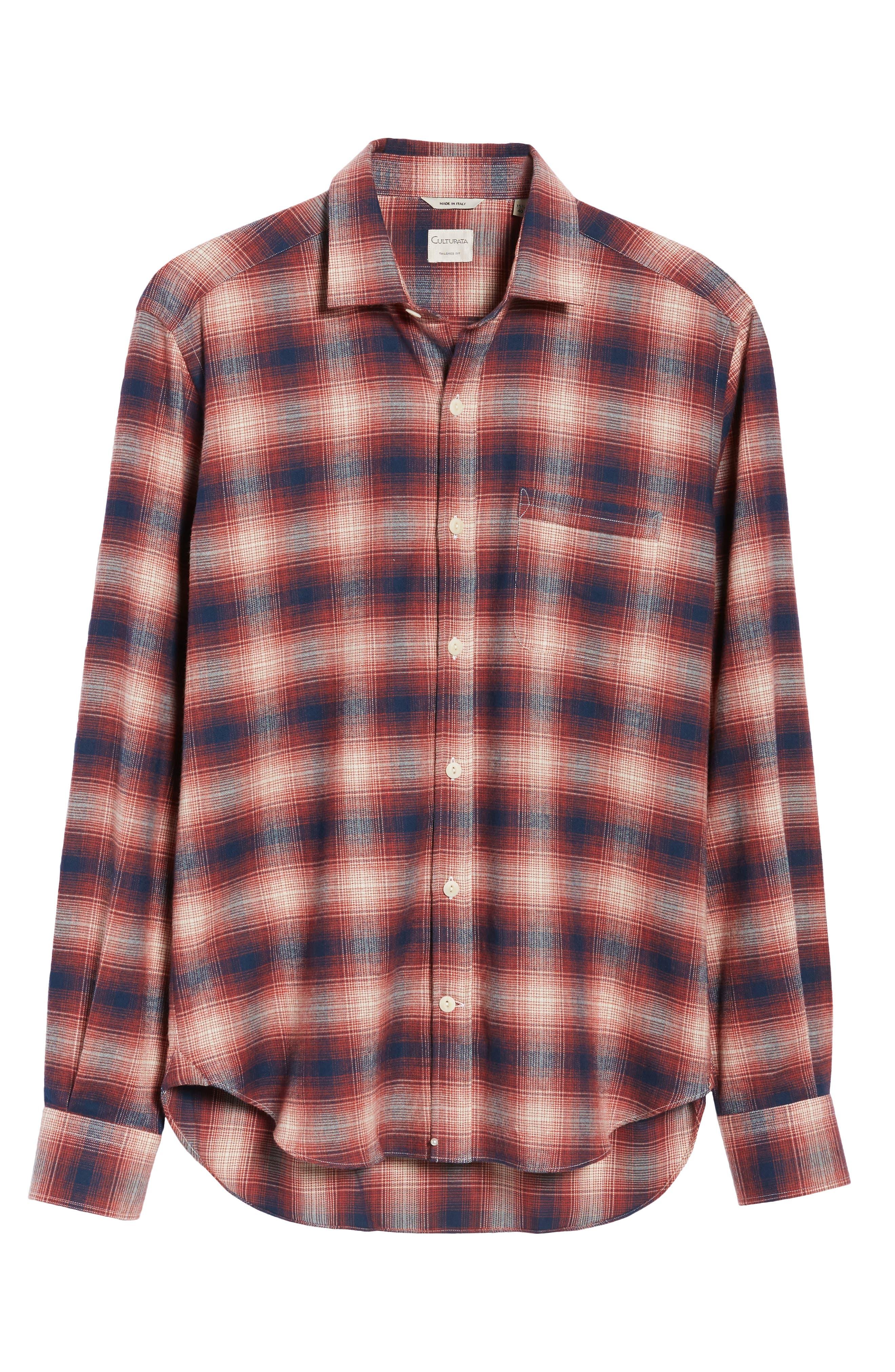 Ombré Plaid Flannel Sport Shirt,                             Alternate thumbnail 6, color,                             Red