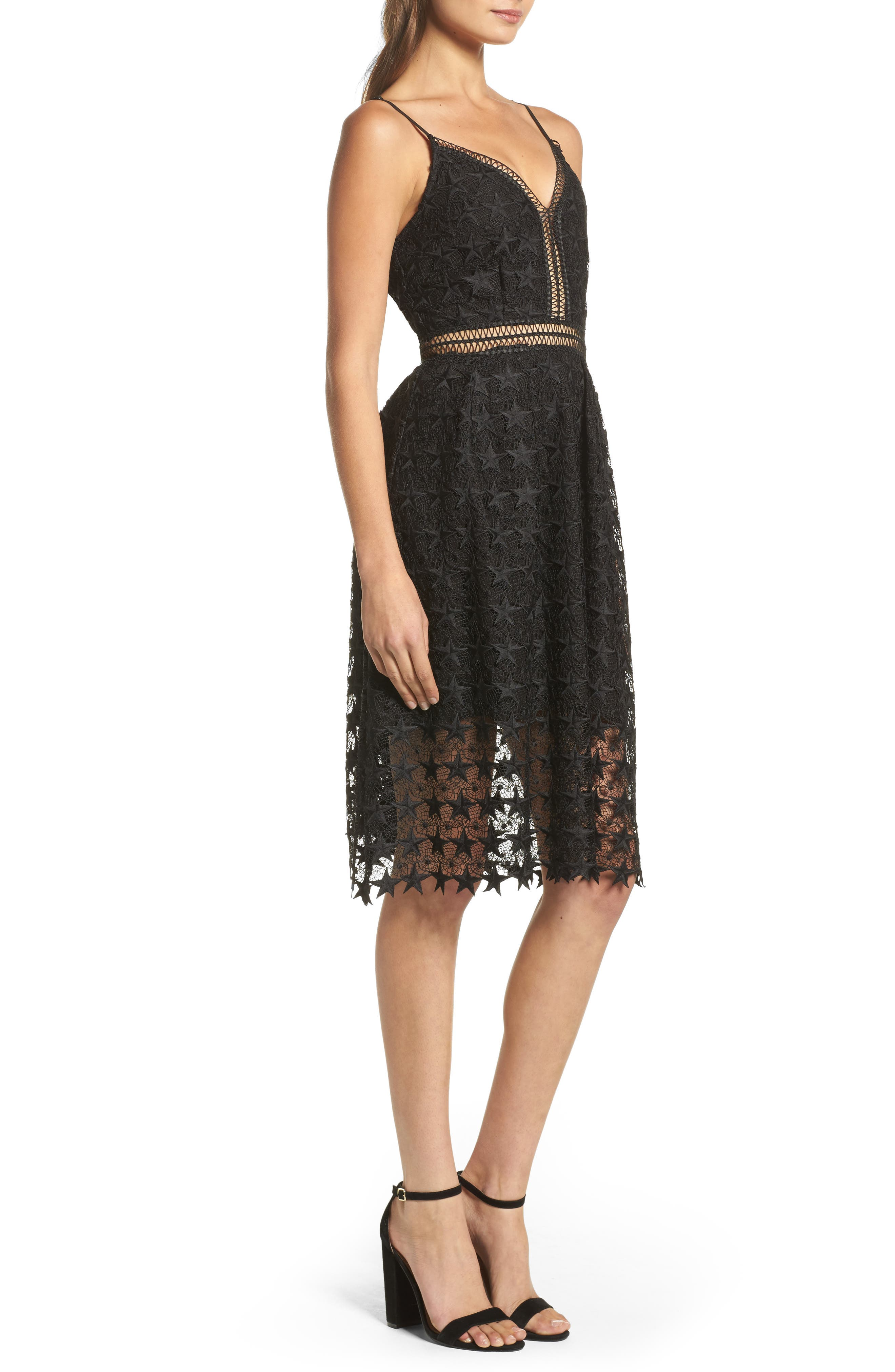 Star Lace Fit & Flare Dress,                             Alternate thumbnail 3, color,                             Black Star