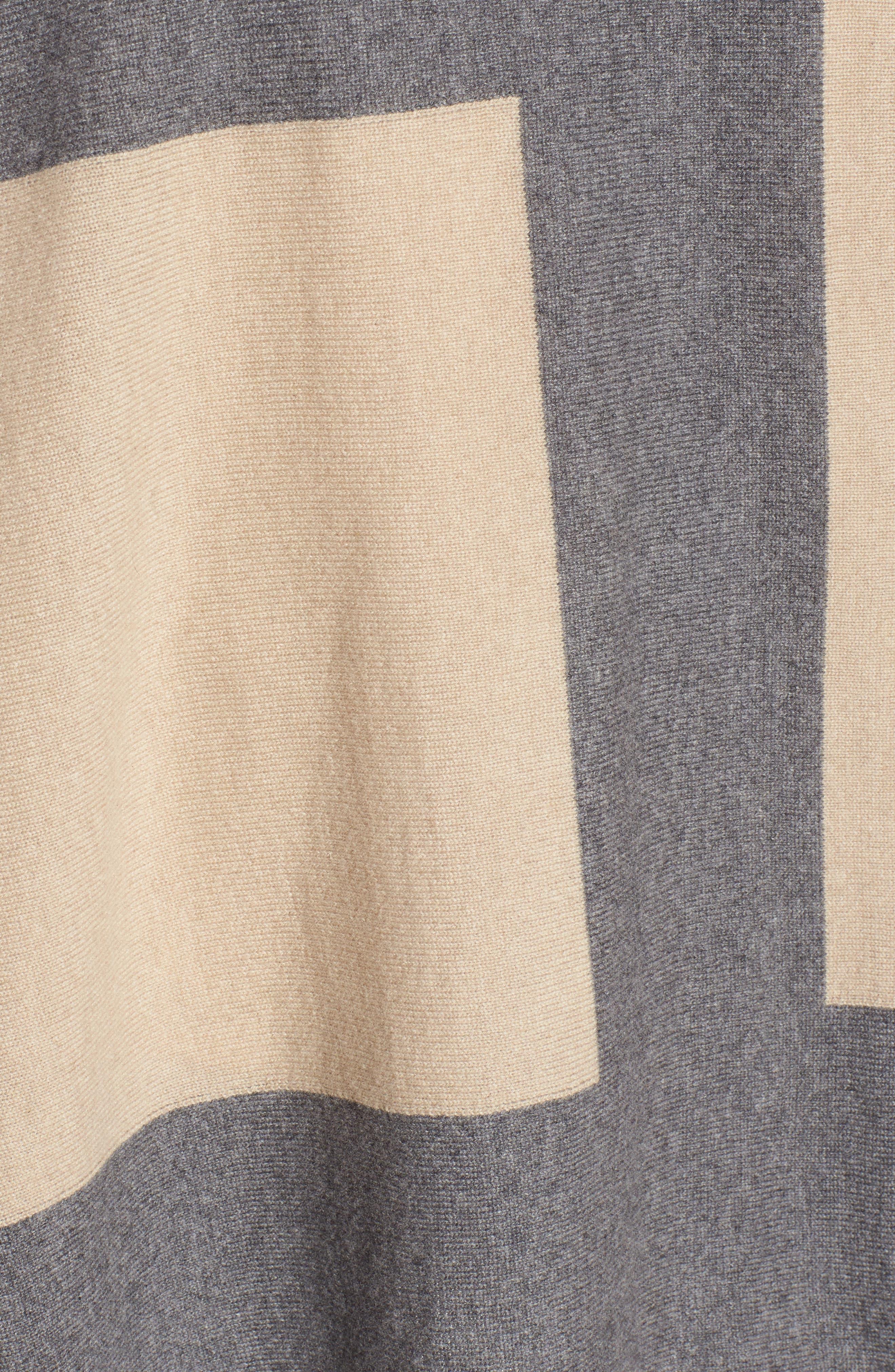 Colorblock Cashmere Blend Poncho,                             Alternate thumbnail 6, color,                             Ash