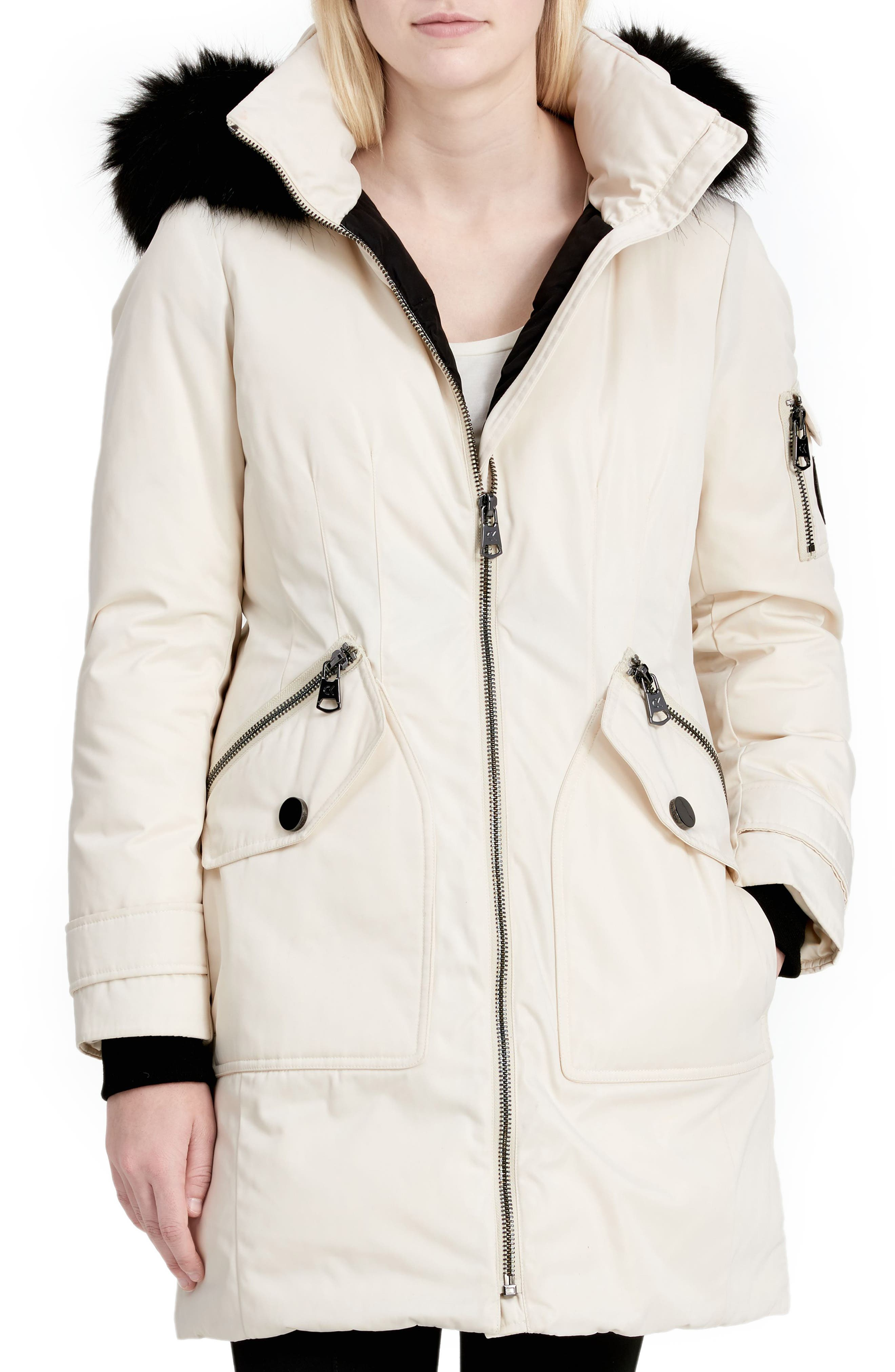 Calvien Klein Hooded Down Parka with Removable Faux Fur Collar,                         Main,                         color, Milk