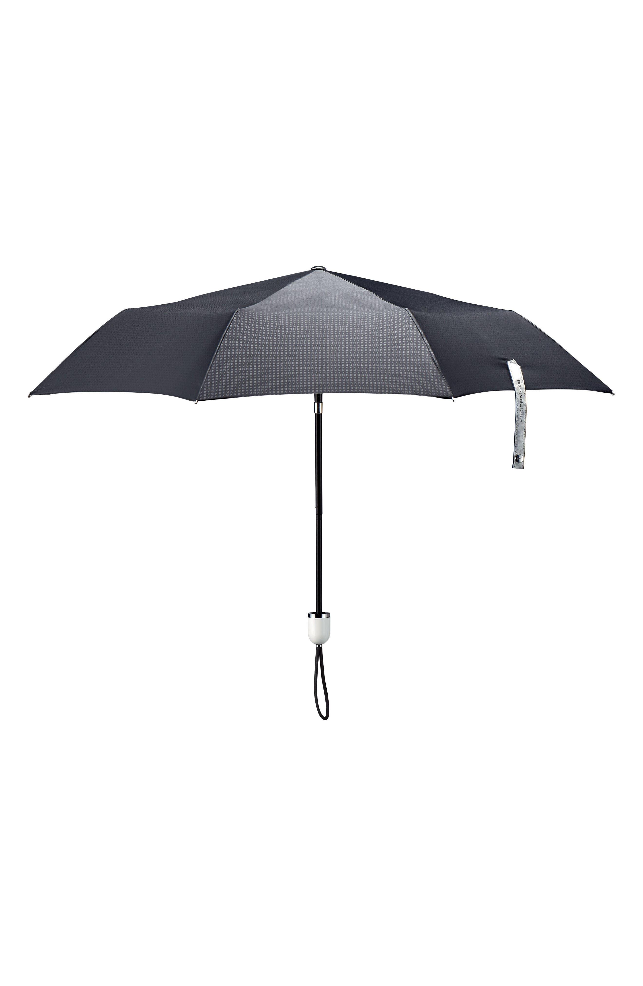 Stratus Auto Open Compact Umbrella,                         Main,                         color, Black/ Piano White