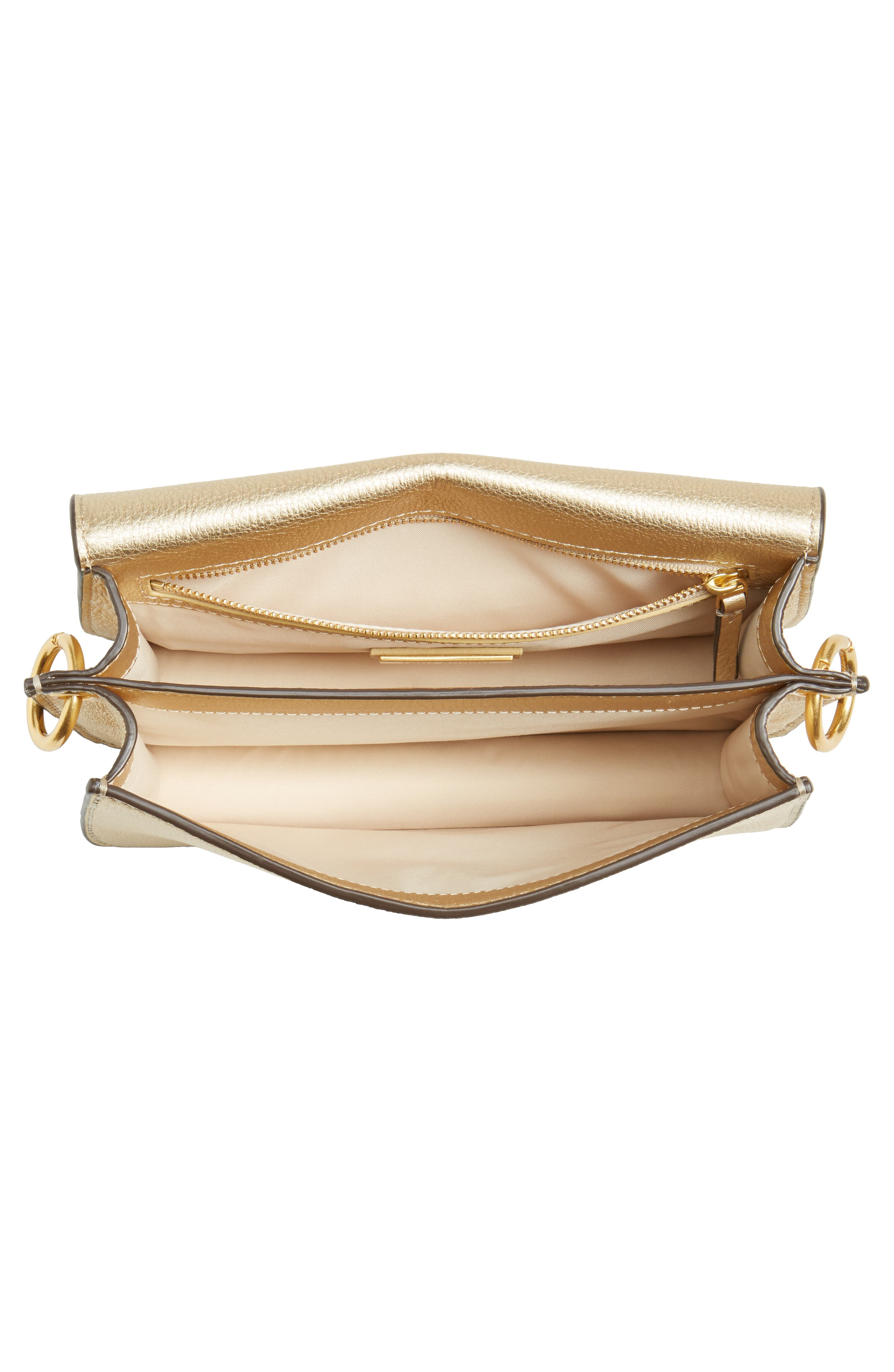 McGraw Metallic Leather Shoulder Bag,                             Alternate thumbnail 4, color,                             Gold
