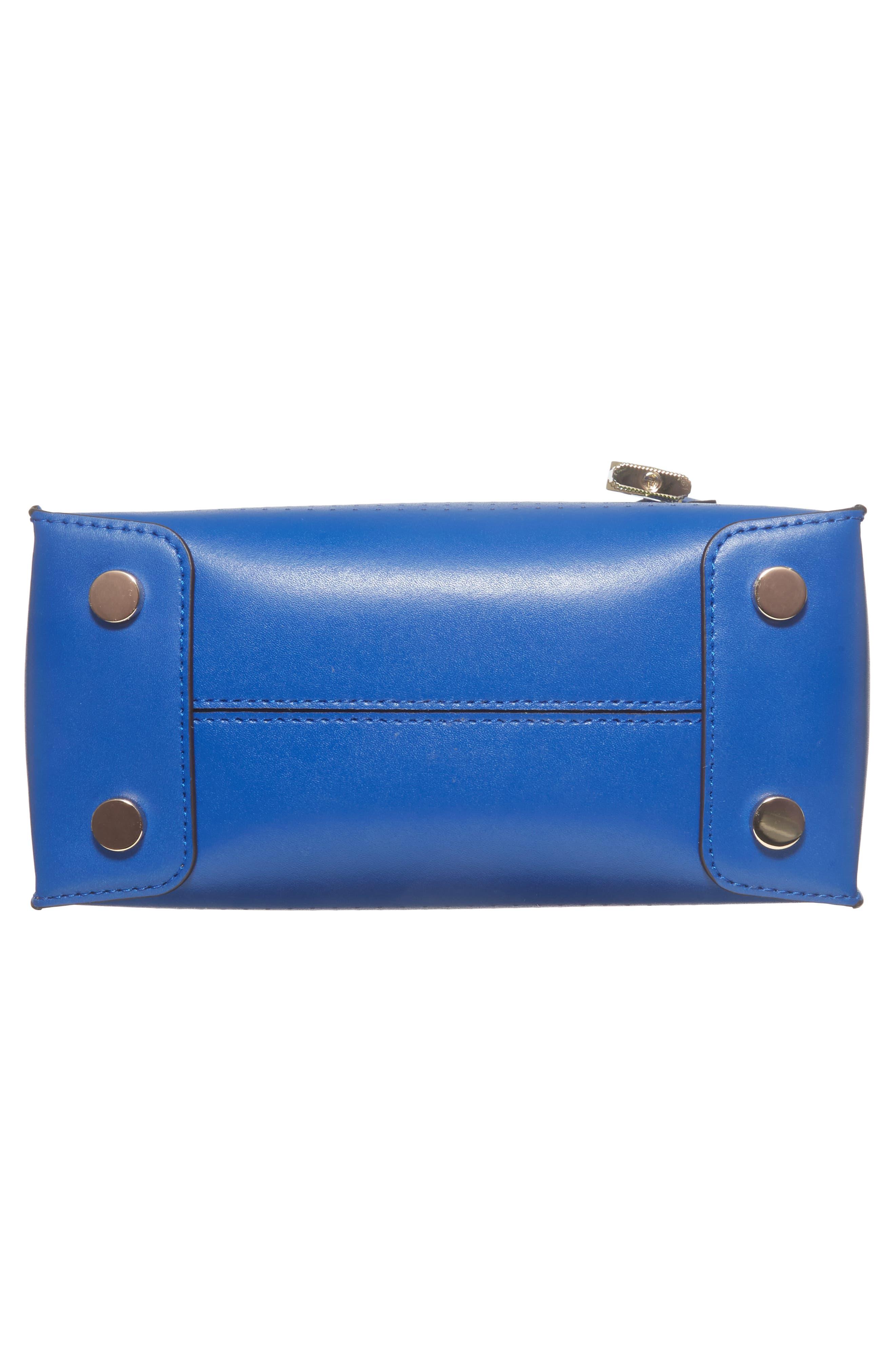 MICHAEL Michael Kors Medium Mercer Leather Crossbody Bag,                             Alternate thumbnail 6, color,                             Electric Blue