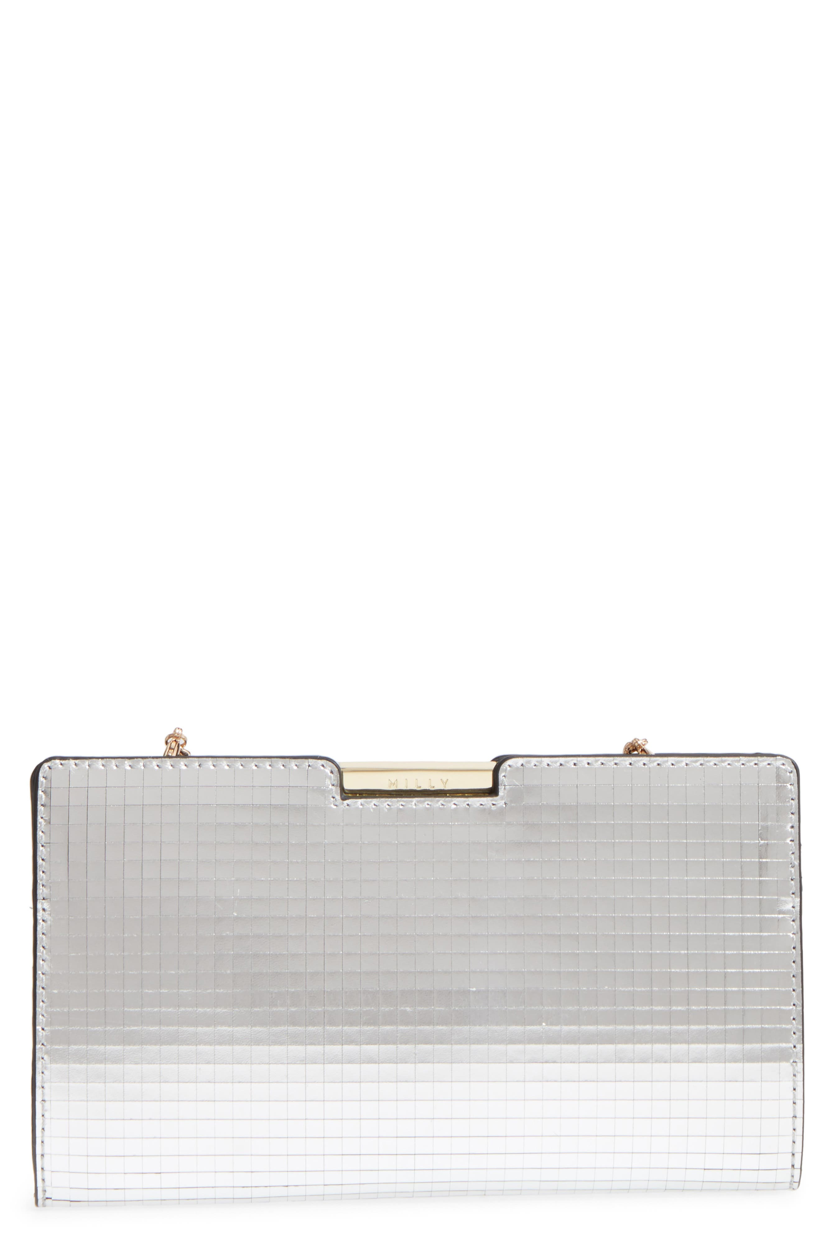 Small Mirror Mosaic Leather Frame Clutch,                             Main thumbnail 1, color,                             Silver