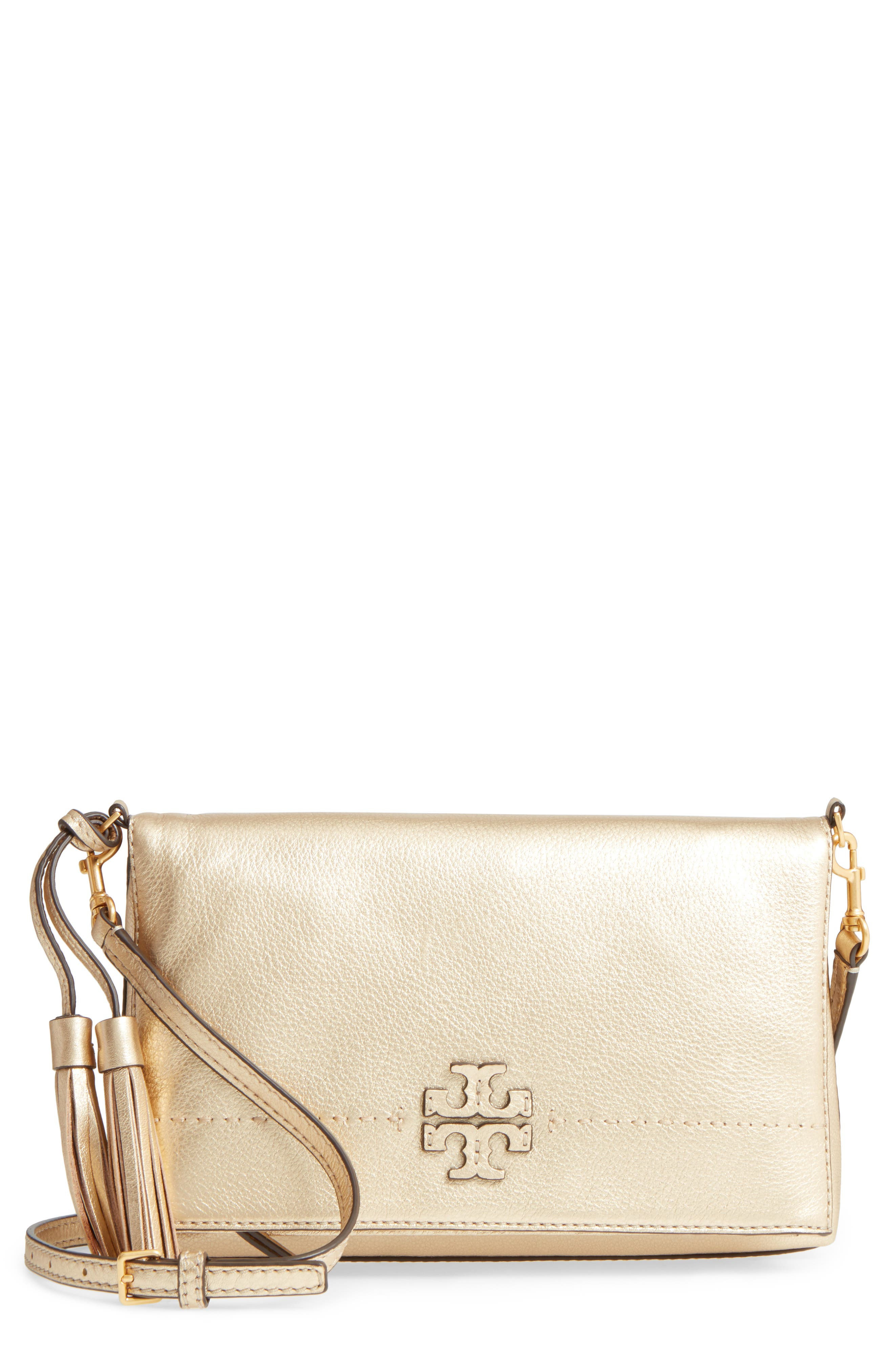 McGraw Metallic Leather Crossbody Bag,                             Main thumbnail 1, color,                             Gold
