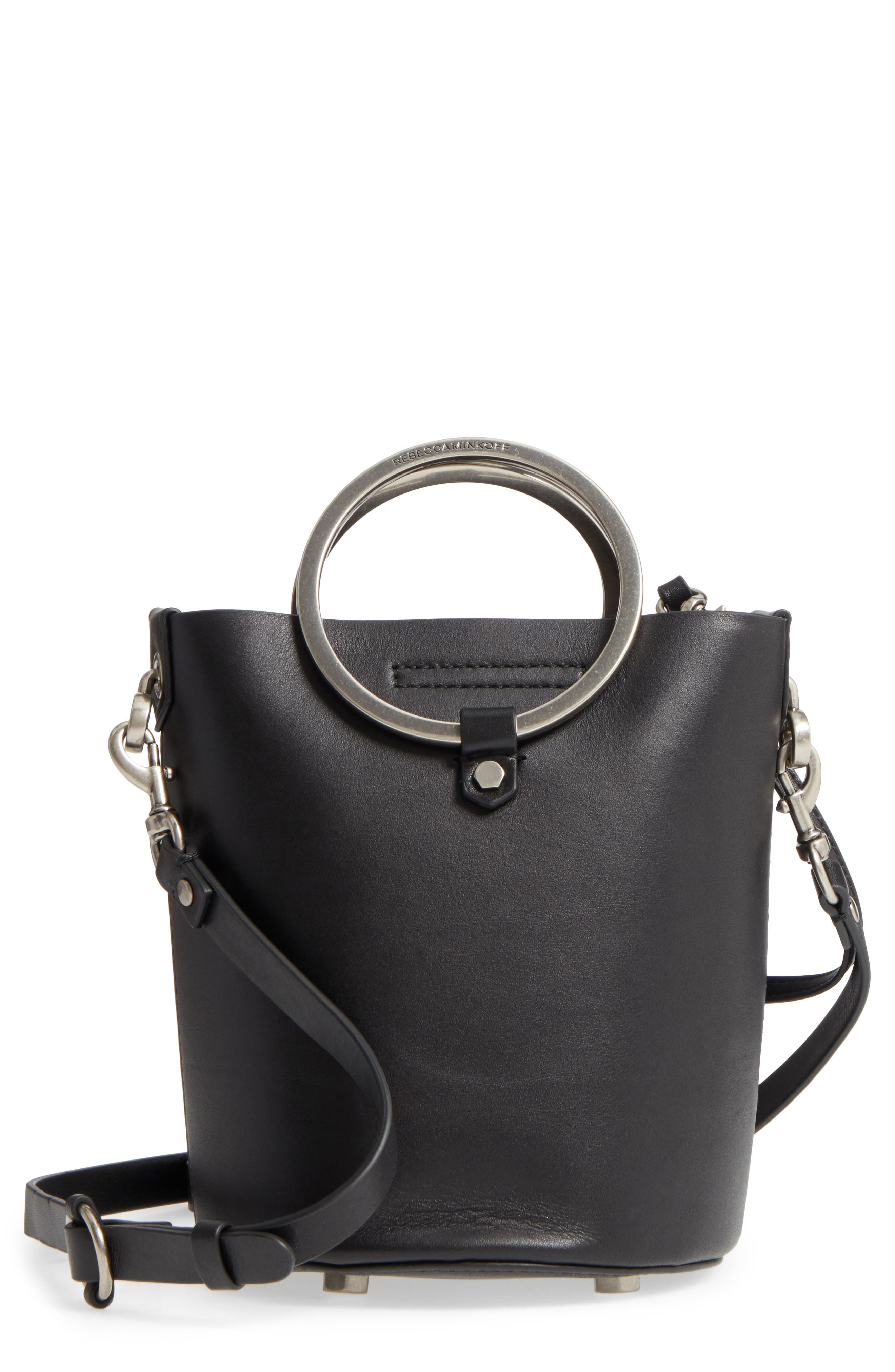 Ring Leather Bucket Bag,                         Main,                         color, Black