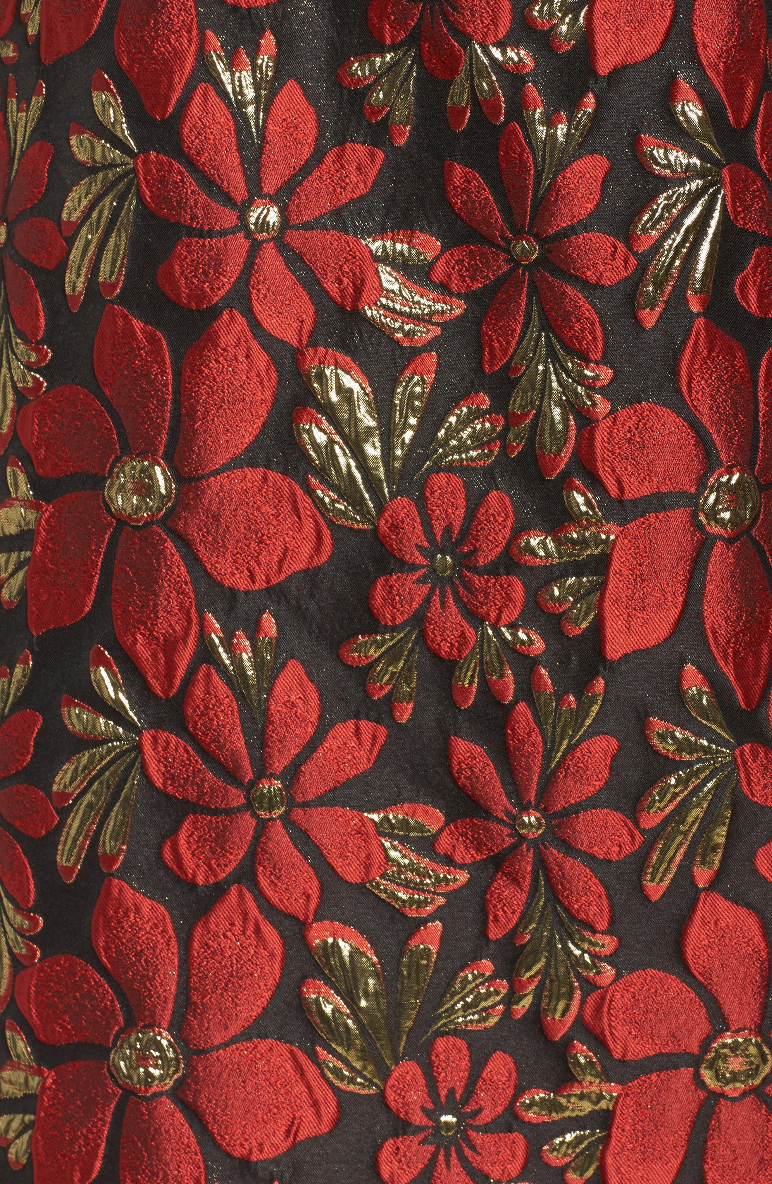 Sleeveless Jacquard Fit & Flare Dress,                             Alternate thumbnail 5, color,                             Black/ Red/ Gold