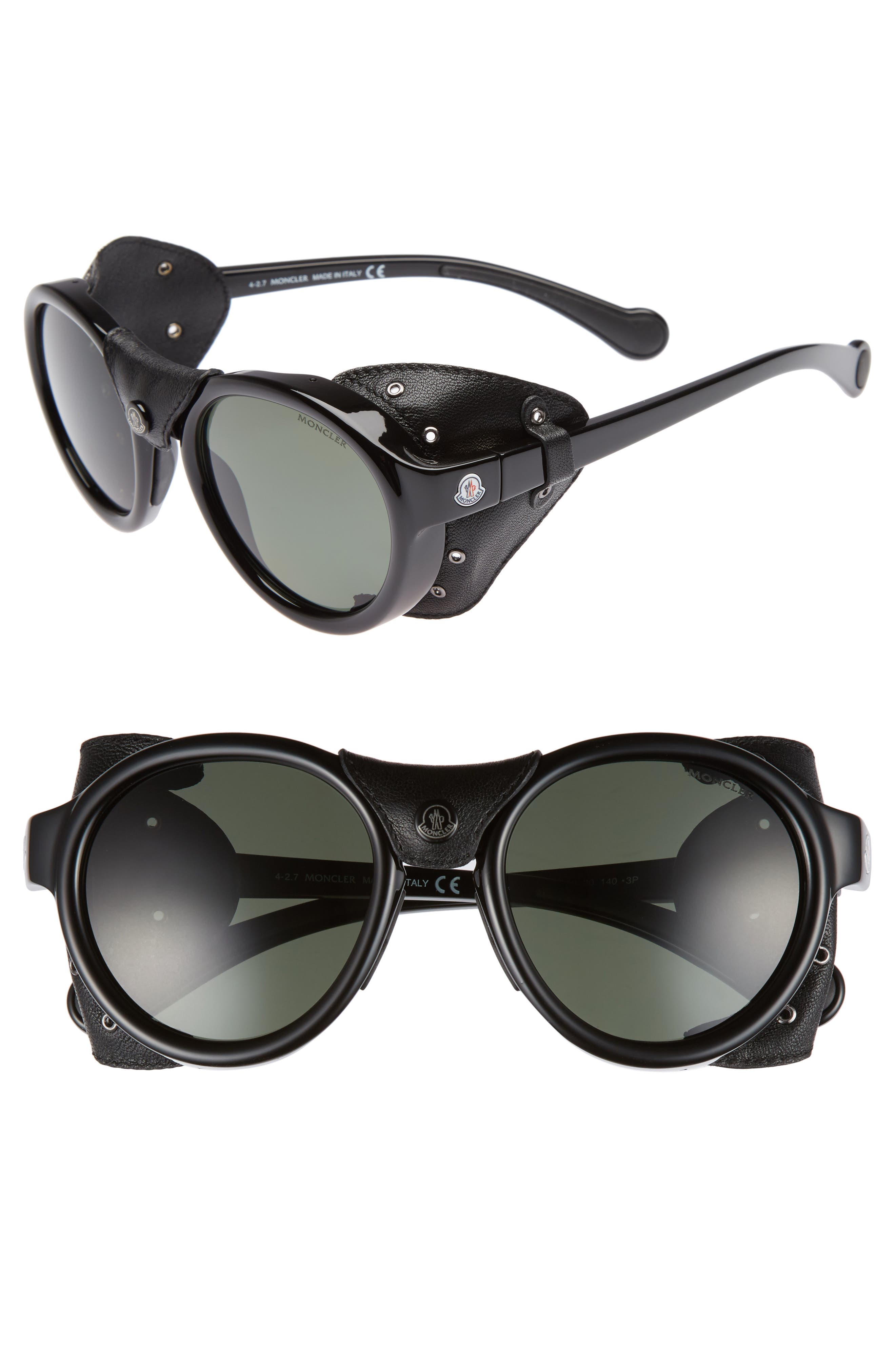 Moncler 52mm Polarized Round Leather Shield Sunglasses