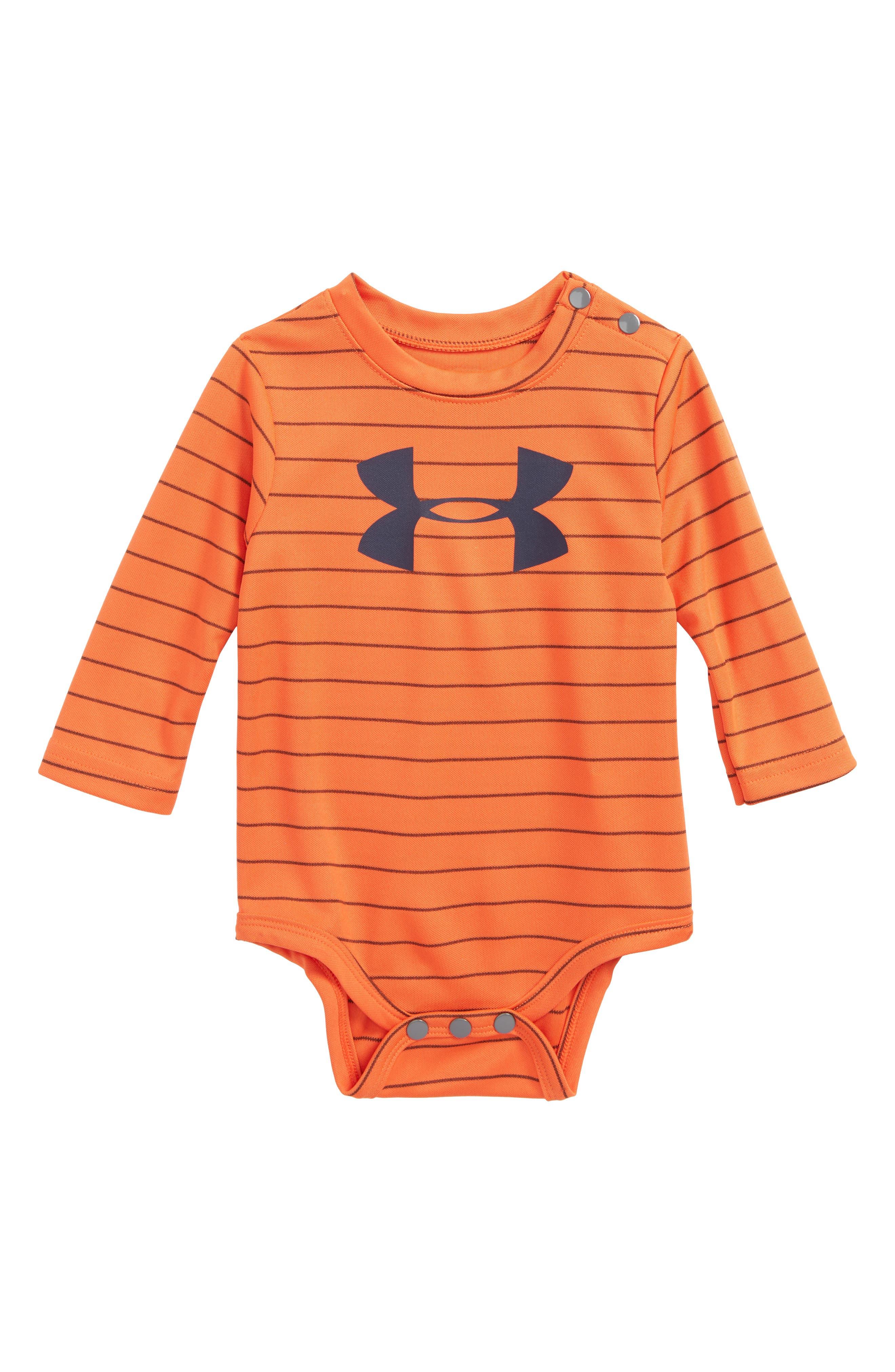 Big Logo Stripe Bodysuit,                             Main thumbnail 1, color,                             Magma Orange