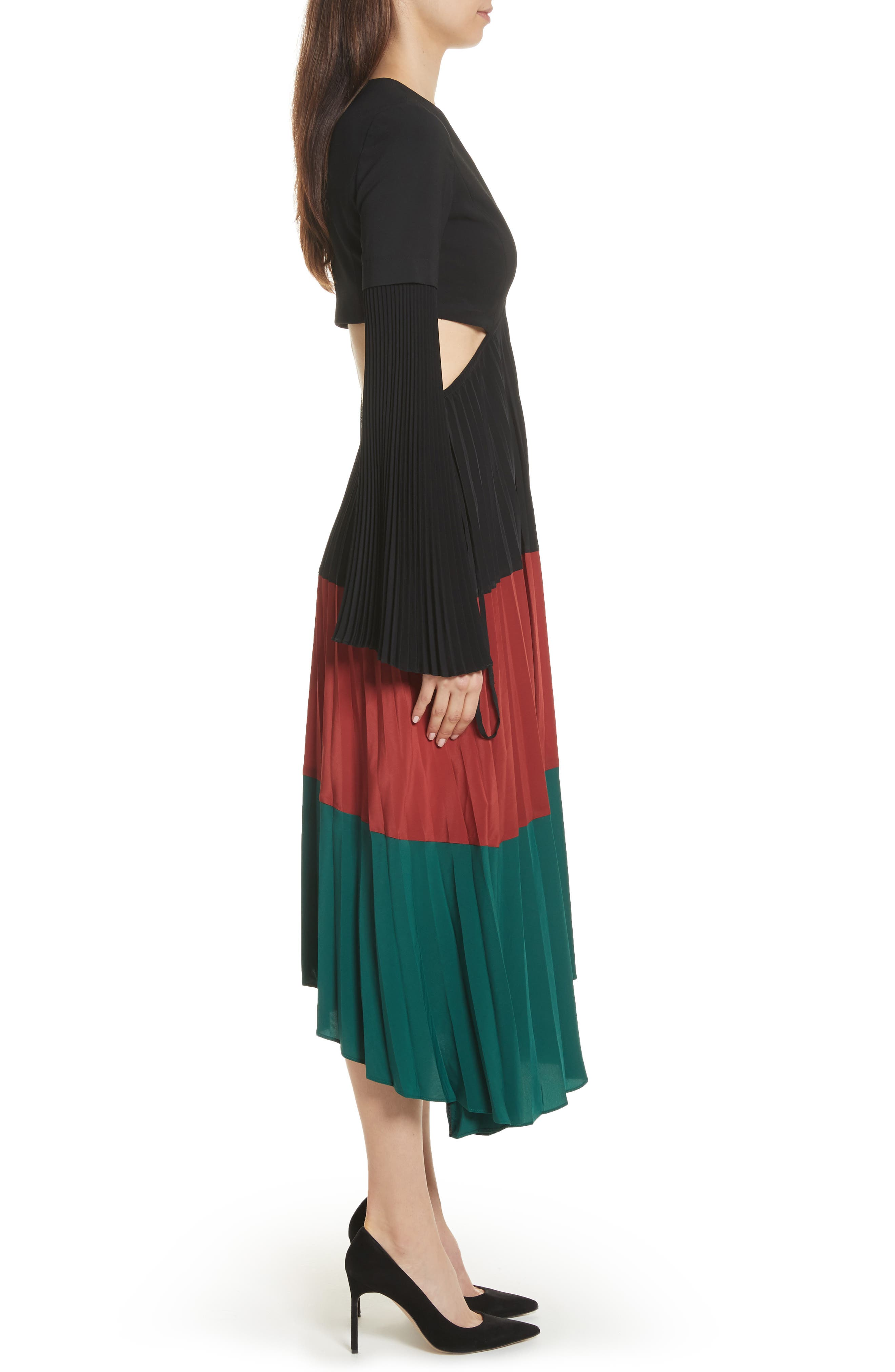 Rio Cutout Pleated Midi Dress,                             Alternate thumbnail 3, color,                             Black