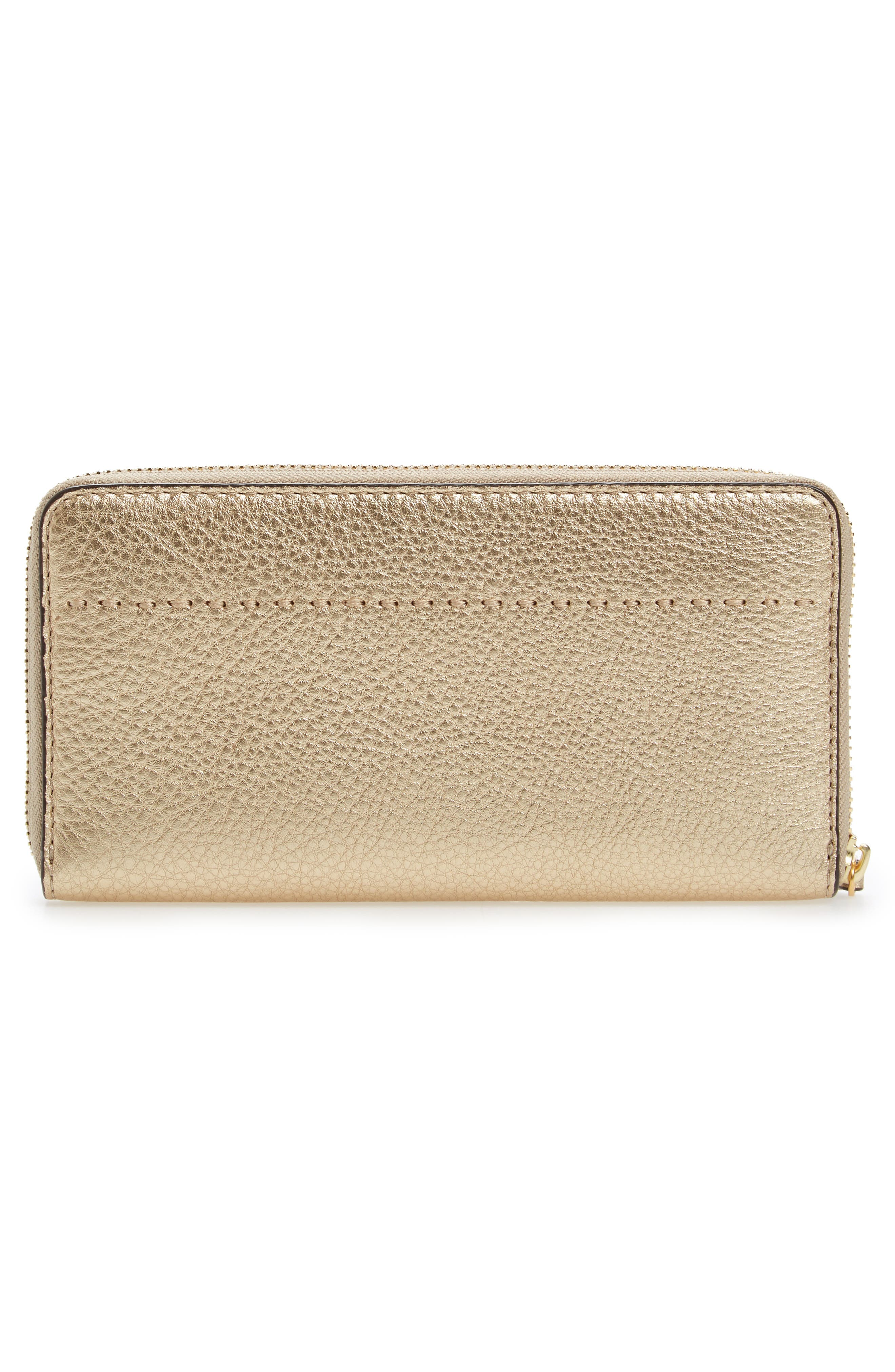 McGraw Leather Continental Wallet,                             Alternate thumbnail 4, color,                             Gold