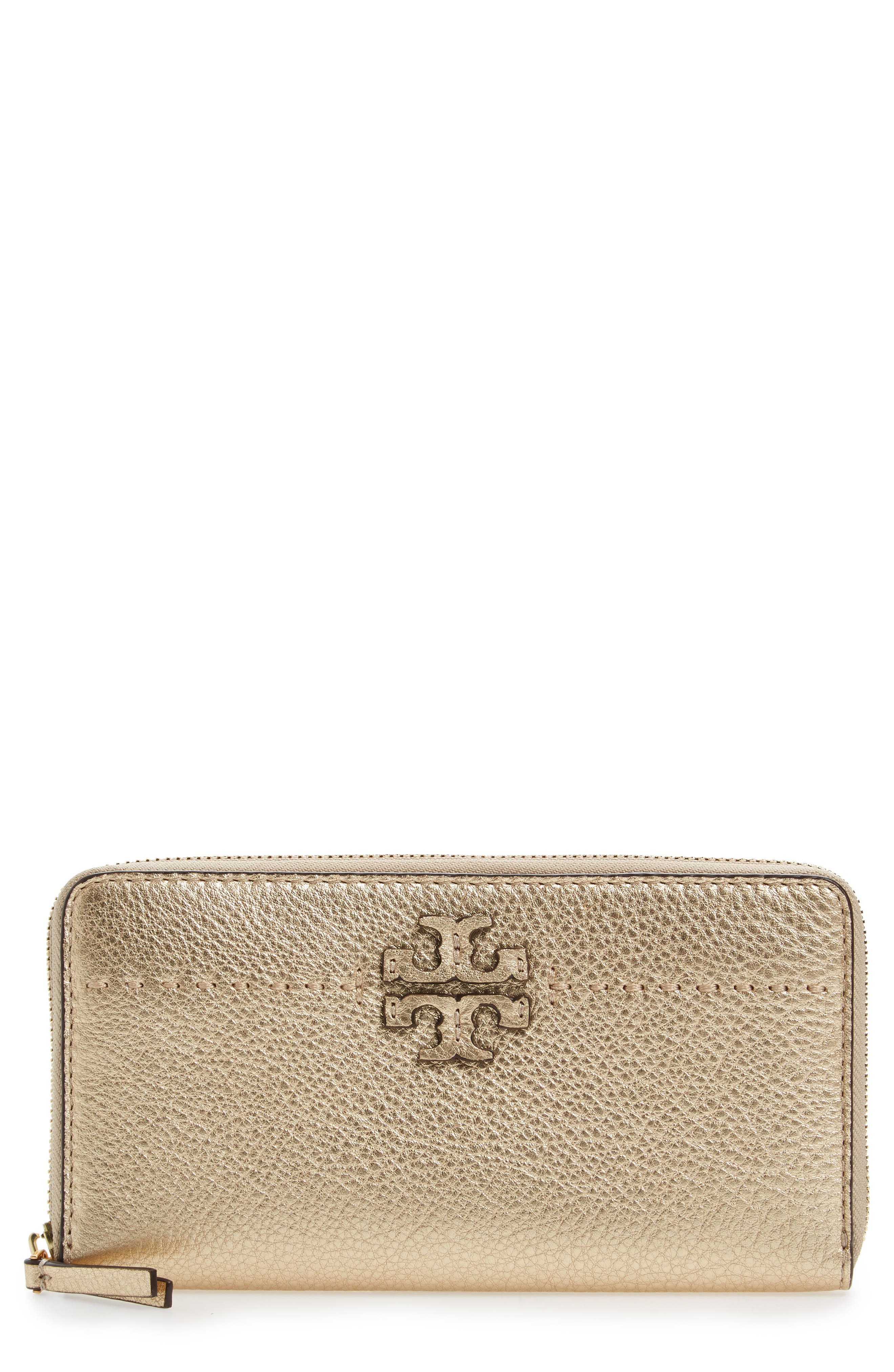 McGraw Leather Continental Wallet,                             Main thumbnail 1, color,                             Gold