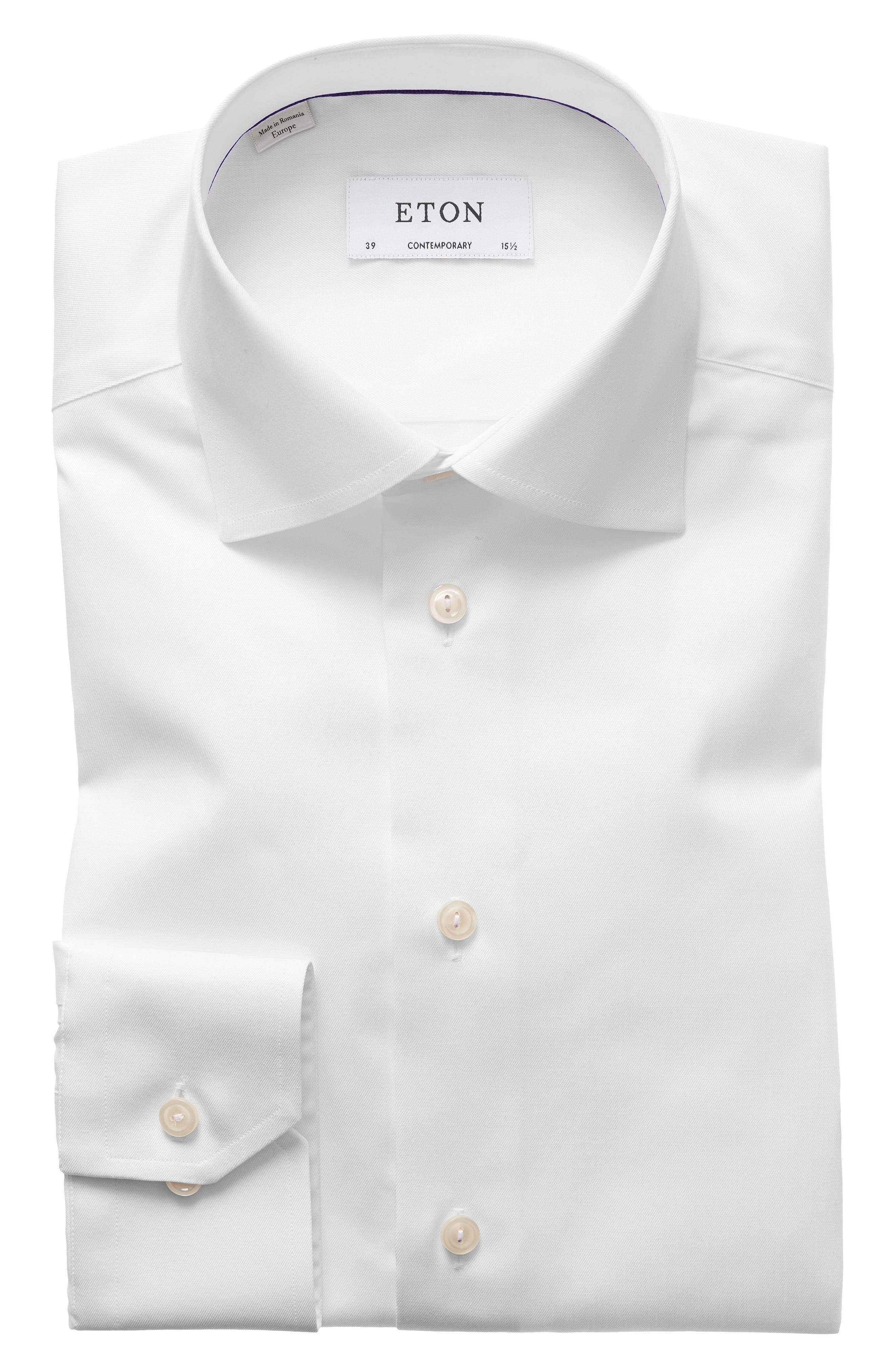Eton Of Sweden Signature Twill Regular Fit Dress Shirt In White