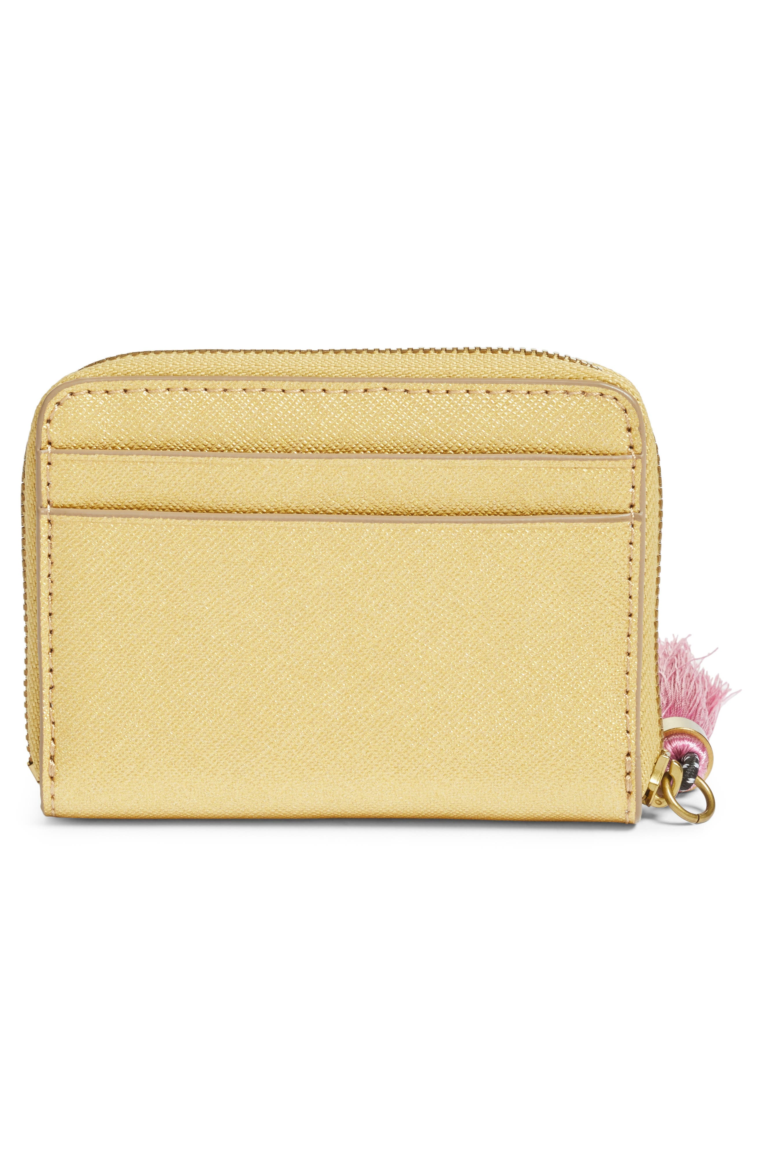 Saffiano Italian Leather Card Case with Tassel,                             Alternate thumbnail 3, color,                             Gold
