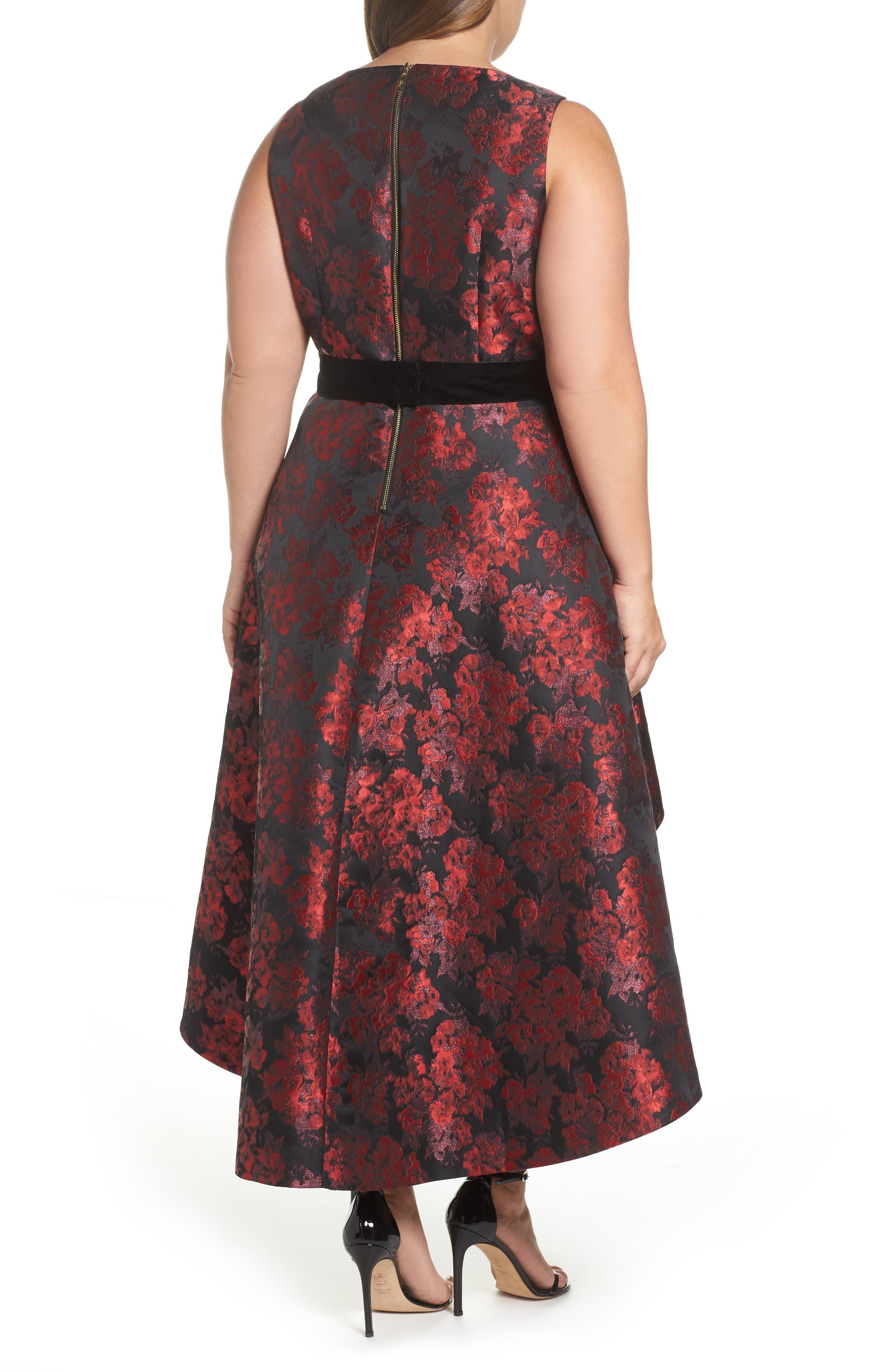 Alternate Image 2  - Eliza J Sleeveless Jacquard High/Low Dress (Plus Size)