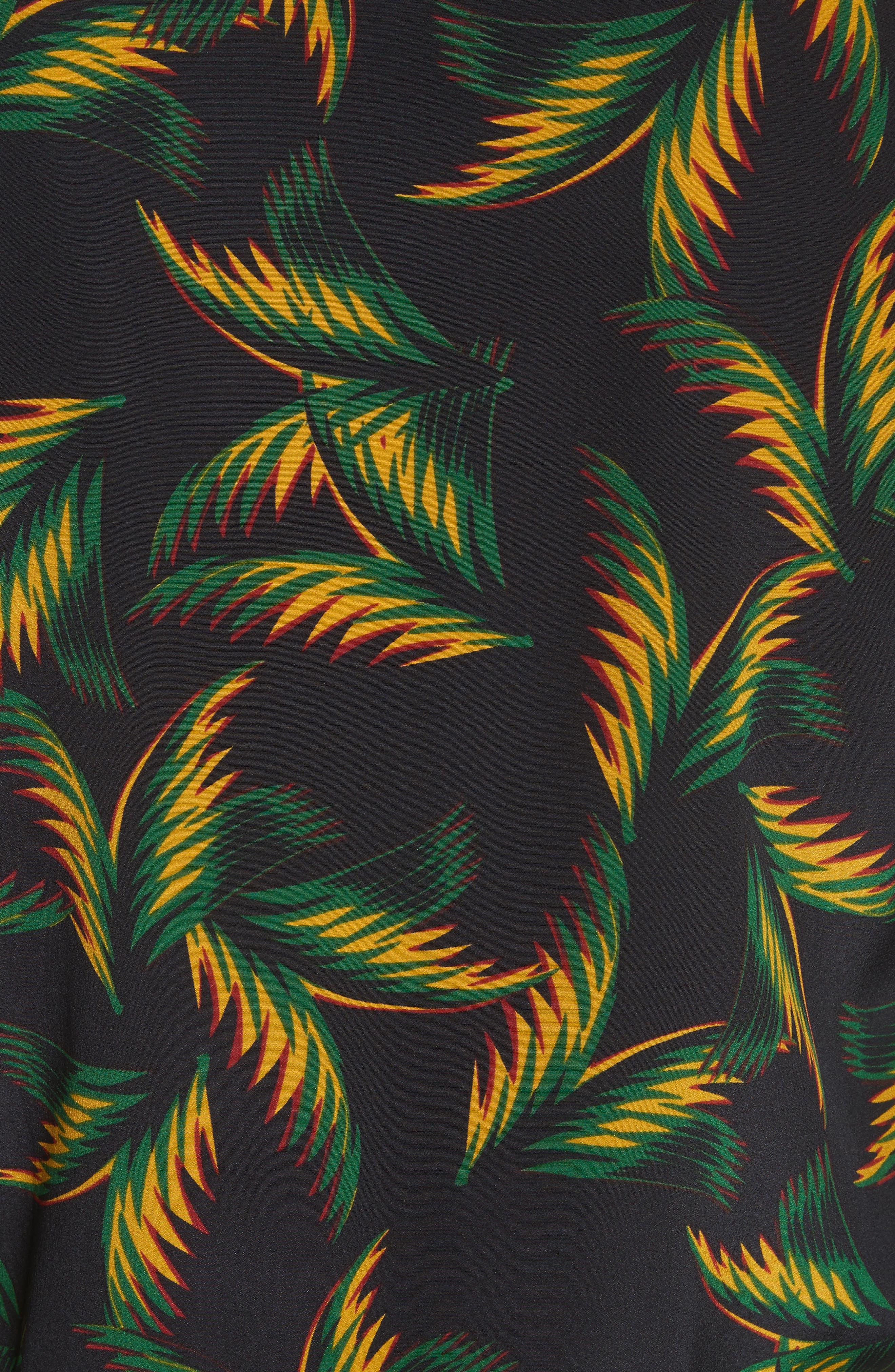 Brooks Pleated Silk Midi Dress,                             Alternate thumbnail 5, color,                             Black