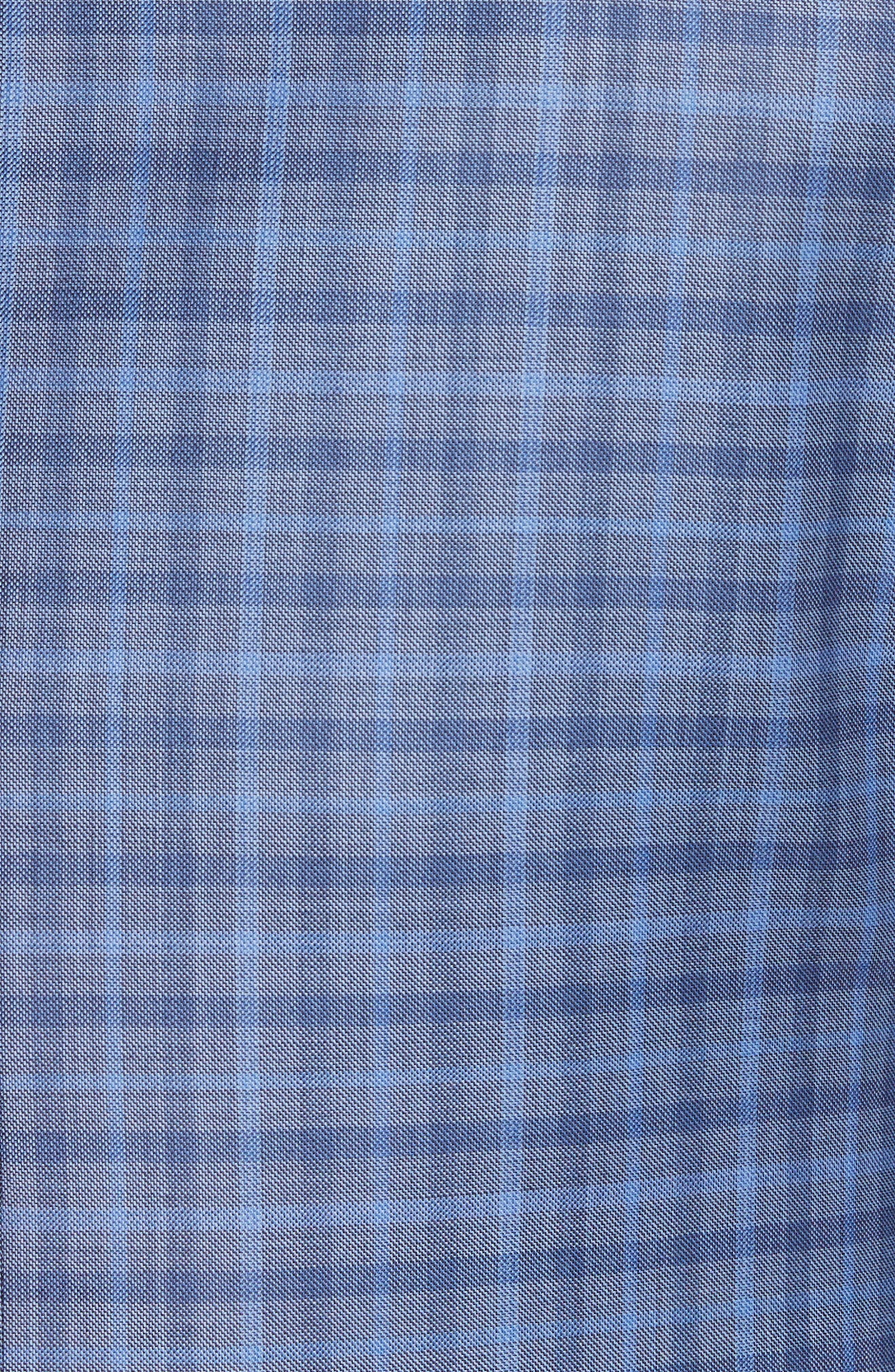 G Line Trim Fit Plaid Wool Sport Coat,                             Alternate thumbnail 5, color,                             Navy