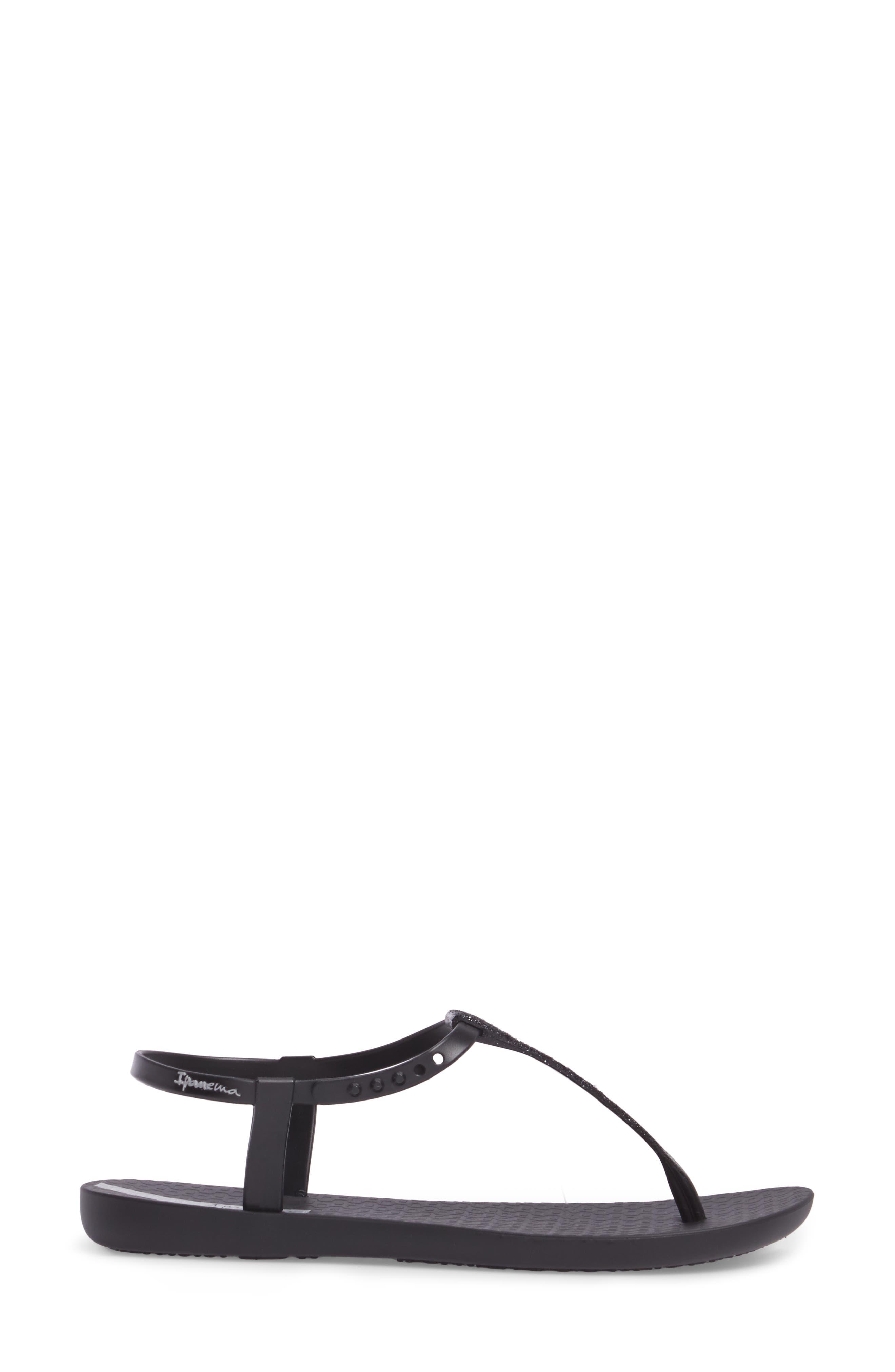 Shimmer Sandal,                             Alternate thumbnail 3, color,                             Black/ Black