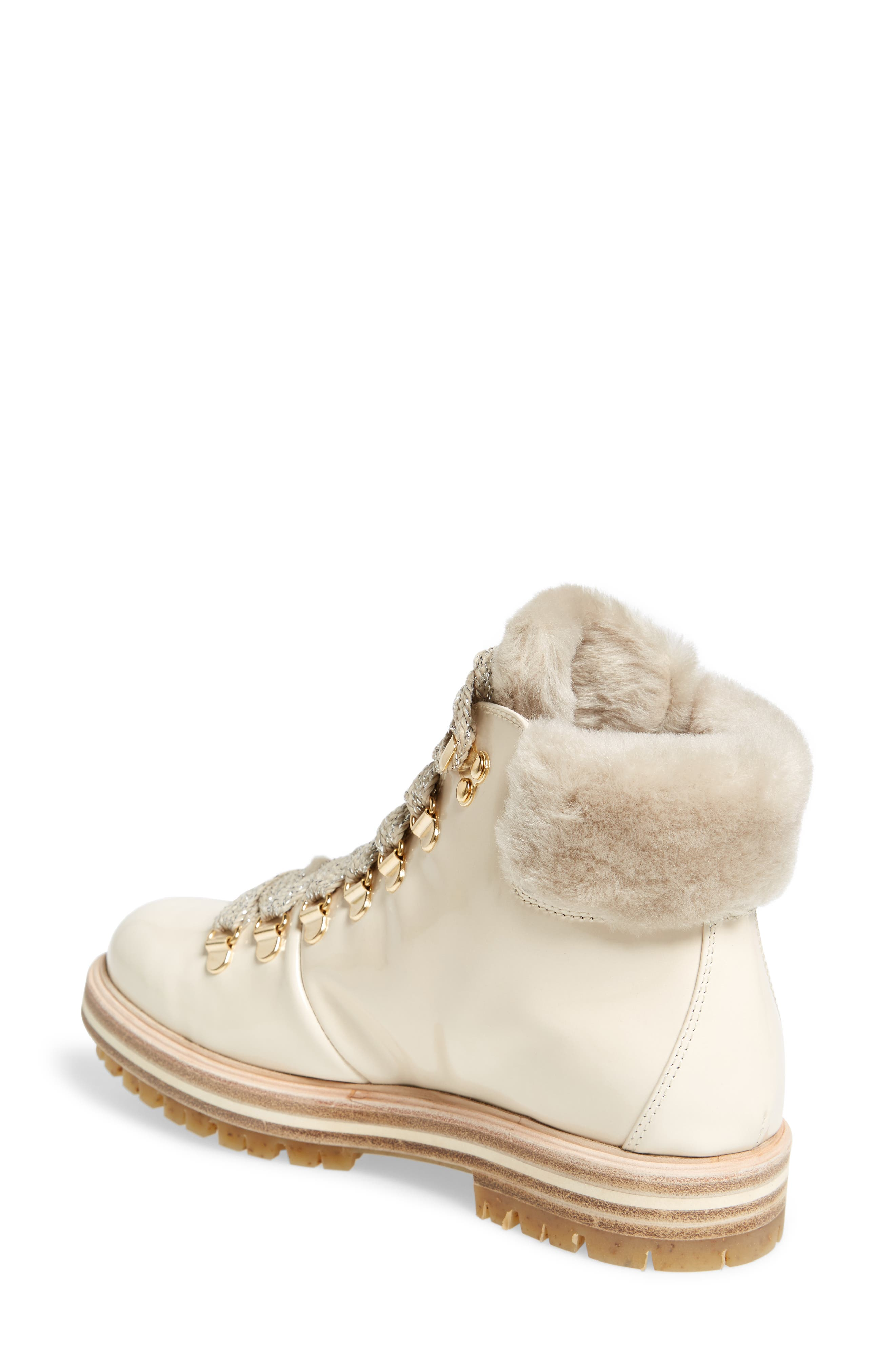 Genuine Shearling Cuff Hiker Boot,                             Alternate thumbnail 2, color,                             Marble Taupe Leather