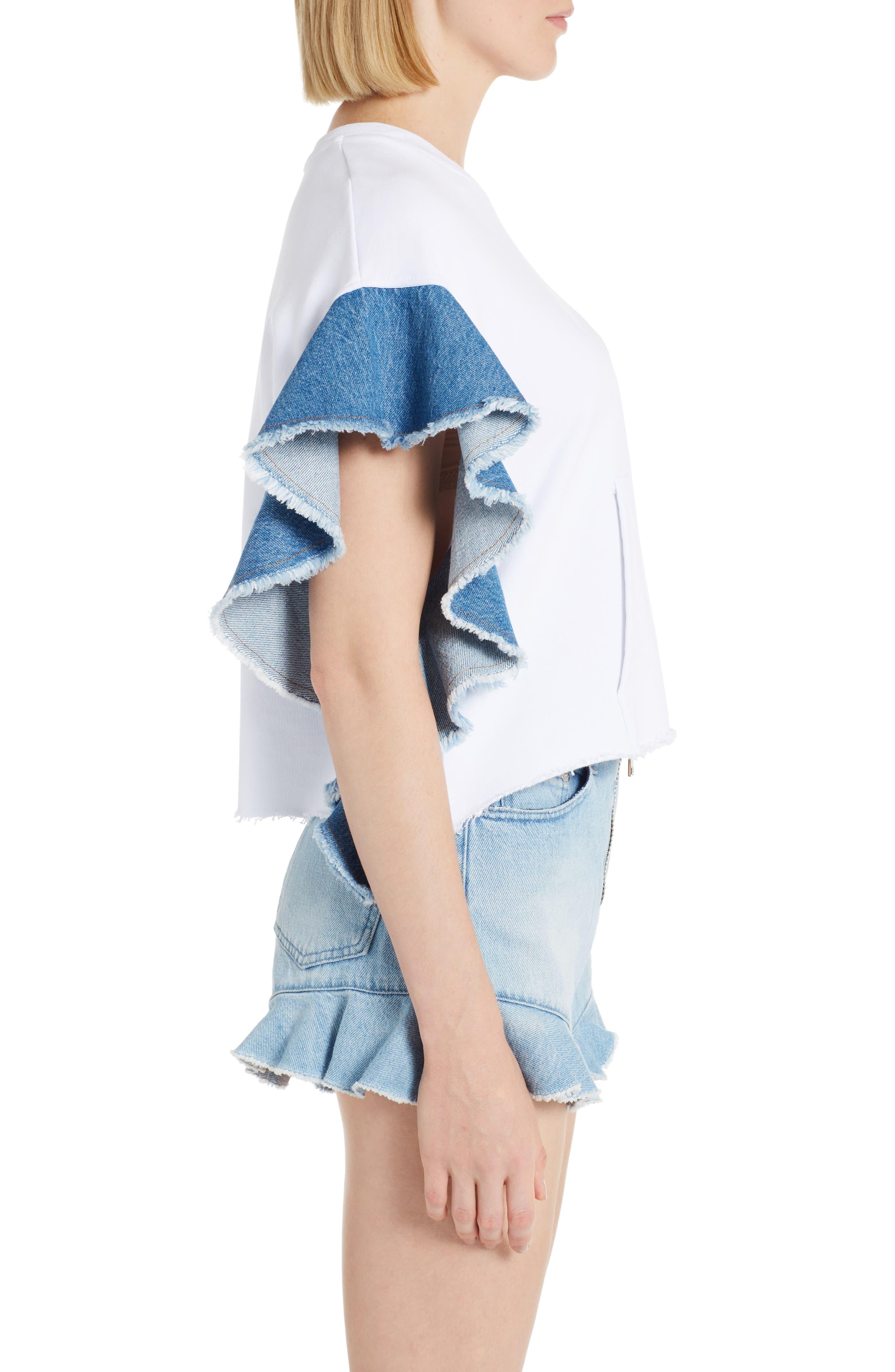 Alternate Image 3  - MSGM Denim Flutter Sleeve Cotton Top