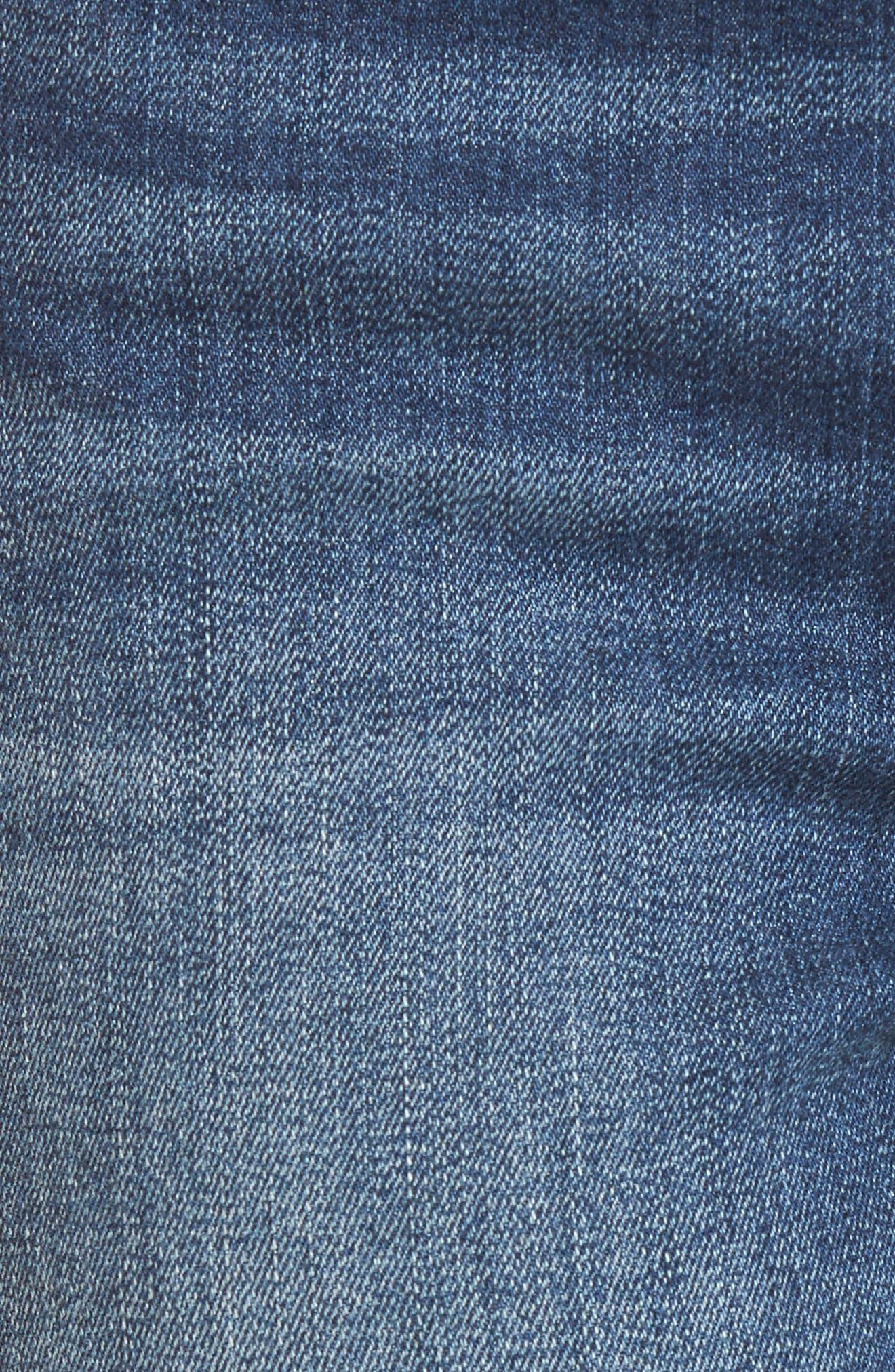 Pierced Hem Skinny Jeans,                             Alternate thumbnail 6, color,                             Medium Wash
