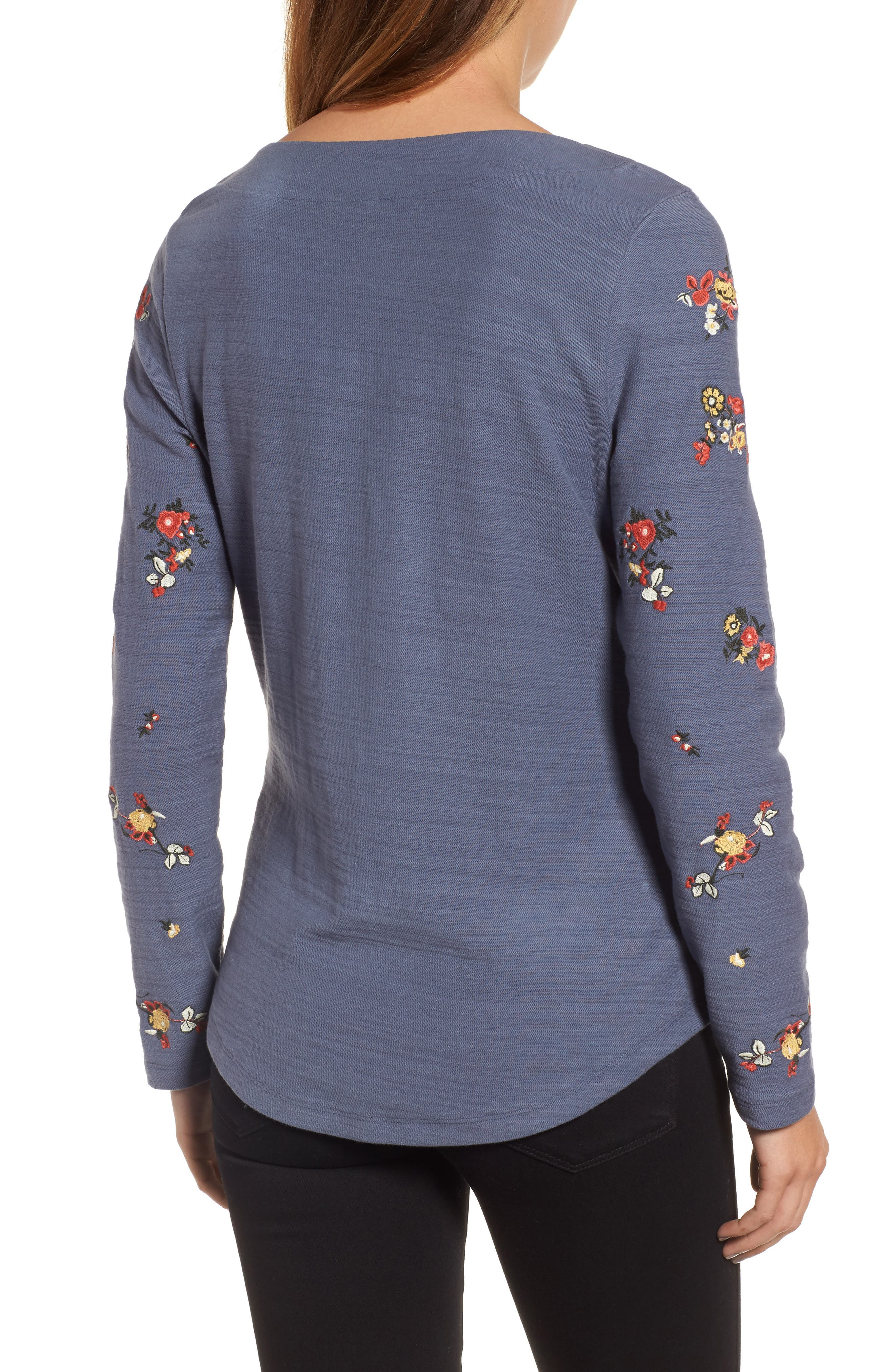 Lace-Up Neck Floral Embroidered Sweatshirt,                             Alternate thumbnail 2, color,                             Grey Floral